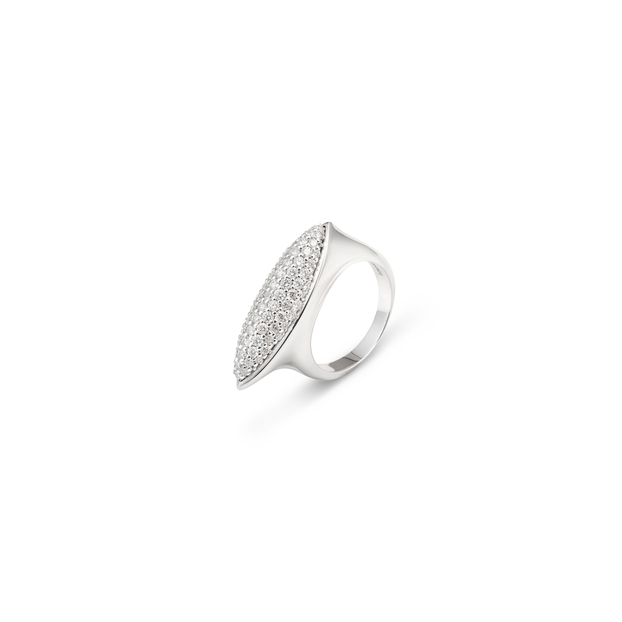 Navetta ring with diamonds White gold ring with diamonds