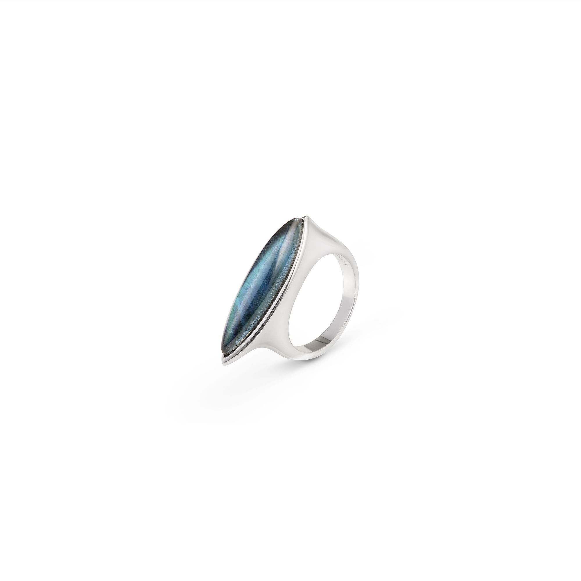 Mother-of-pearl Navetta ring Silver ring with stone