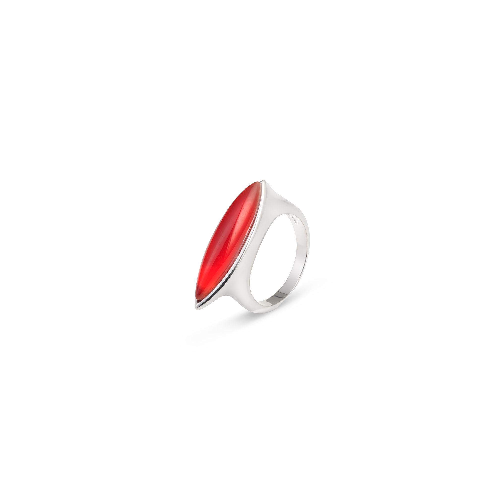 Anello Navetta rossa Anello in argento e pietra