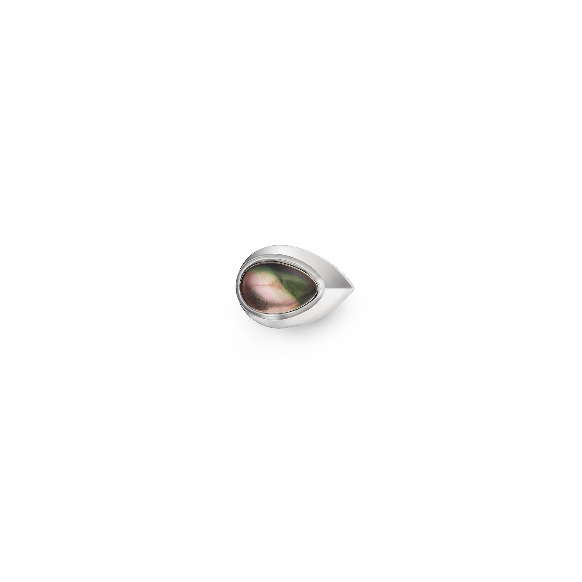 Grey mother-of-pearl chevalier ring Silver ring with stone