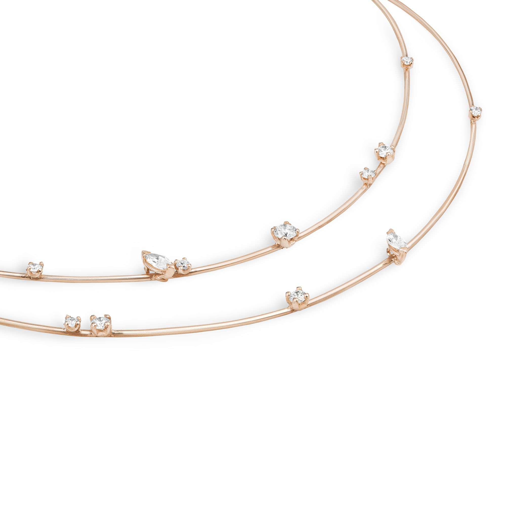 2 element 'Balance' chocker Rose gold necklace with diamonds