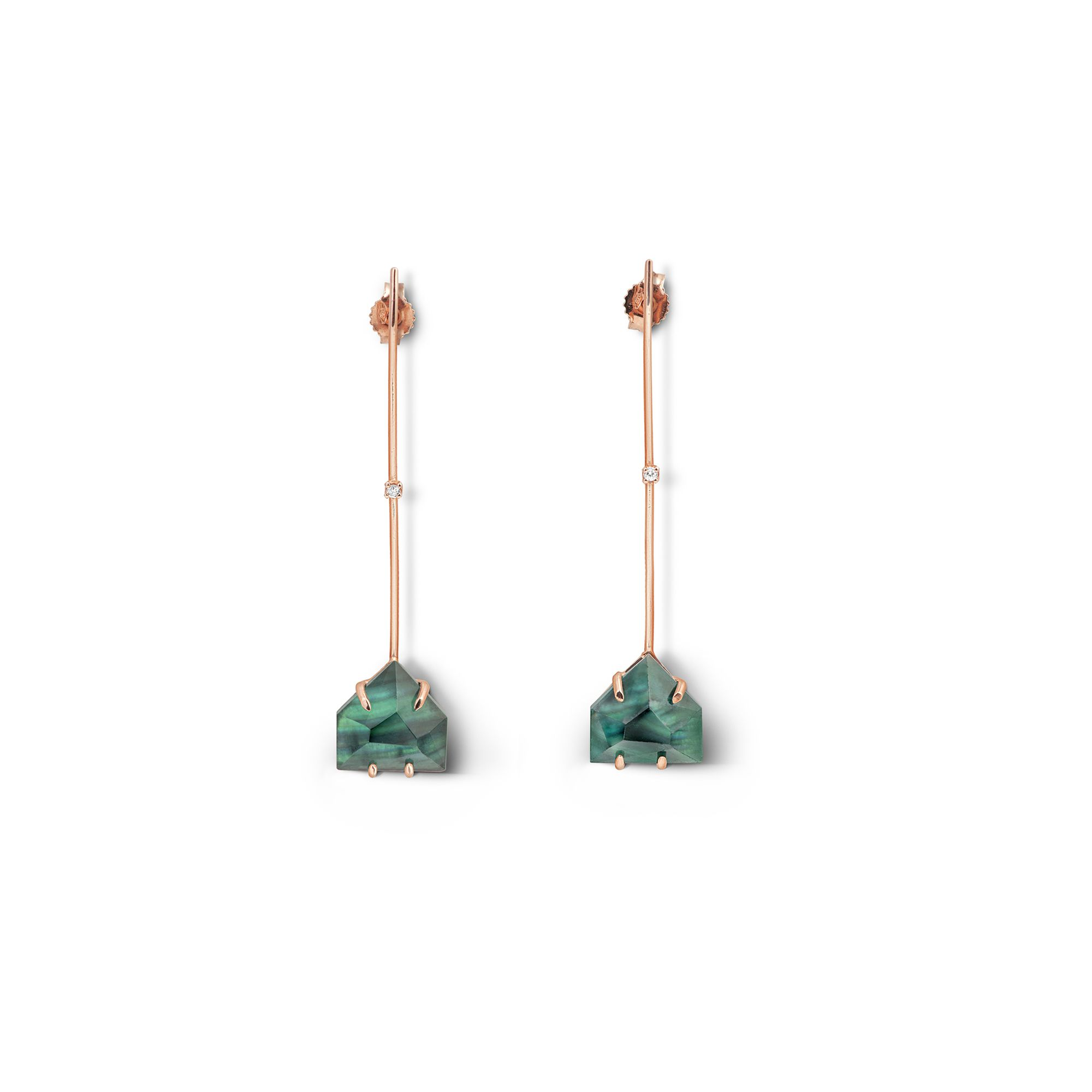 'Amo' with green trapeze Rose gold earrings with crystals and diamonds
