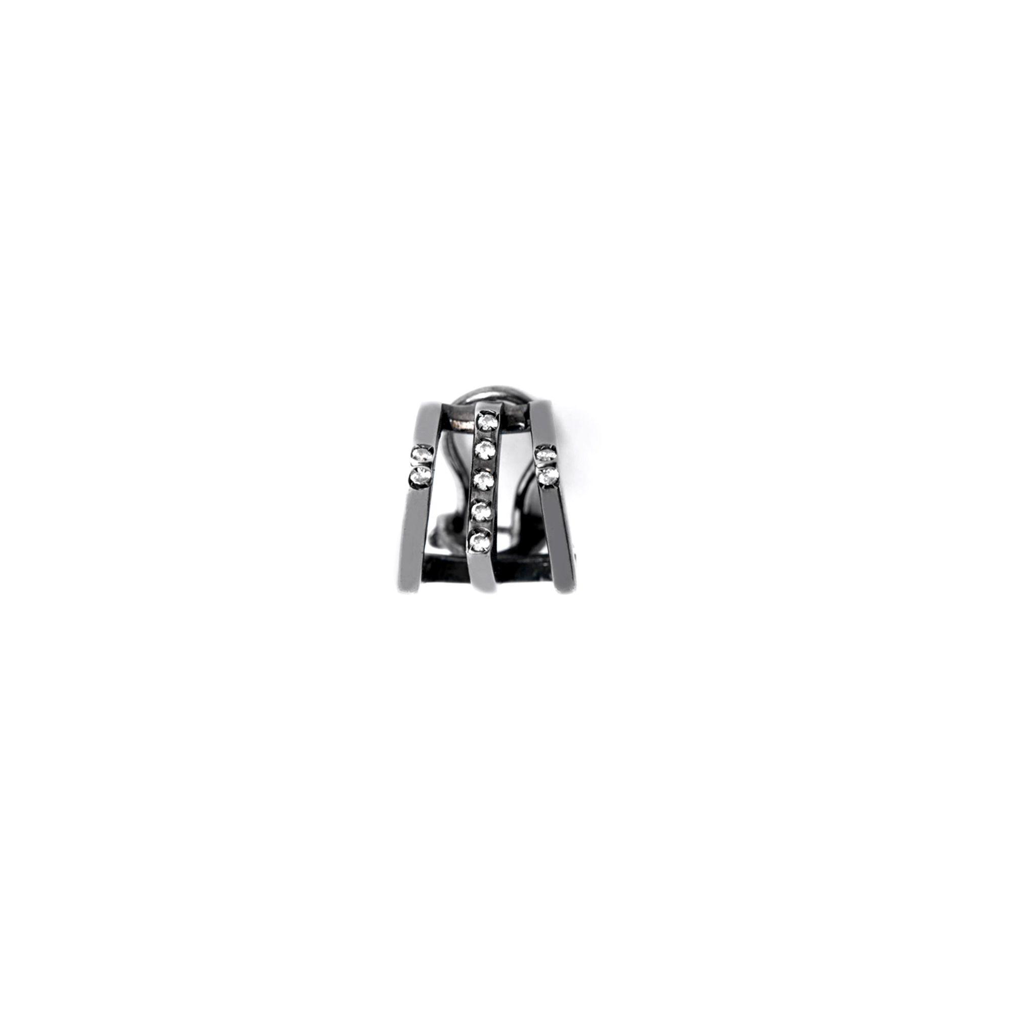 Black 'Congiunzioni' cuff earring Black silver mono earring with stones