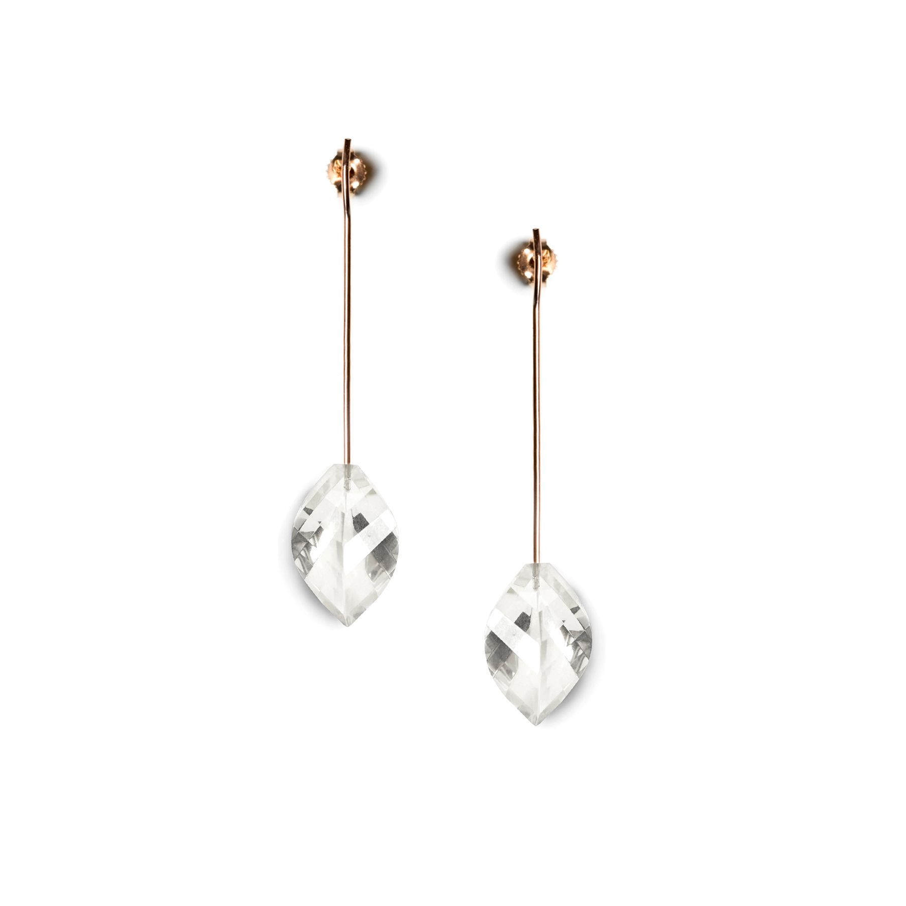 Rose gold 'Amo' earrings pink gold earrings with crystals