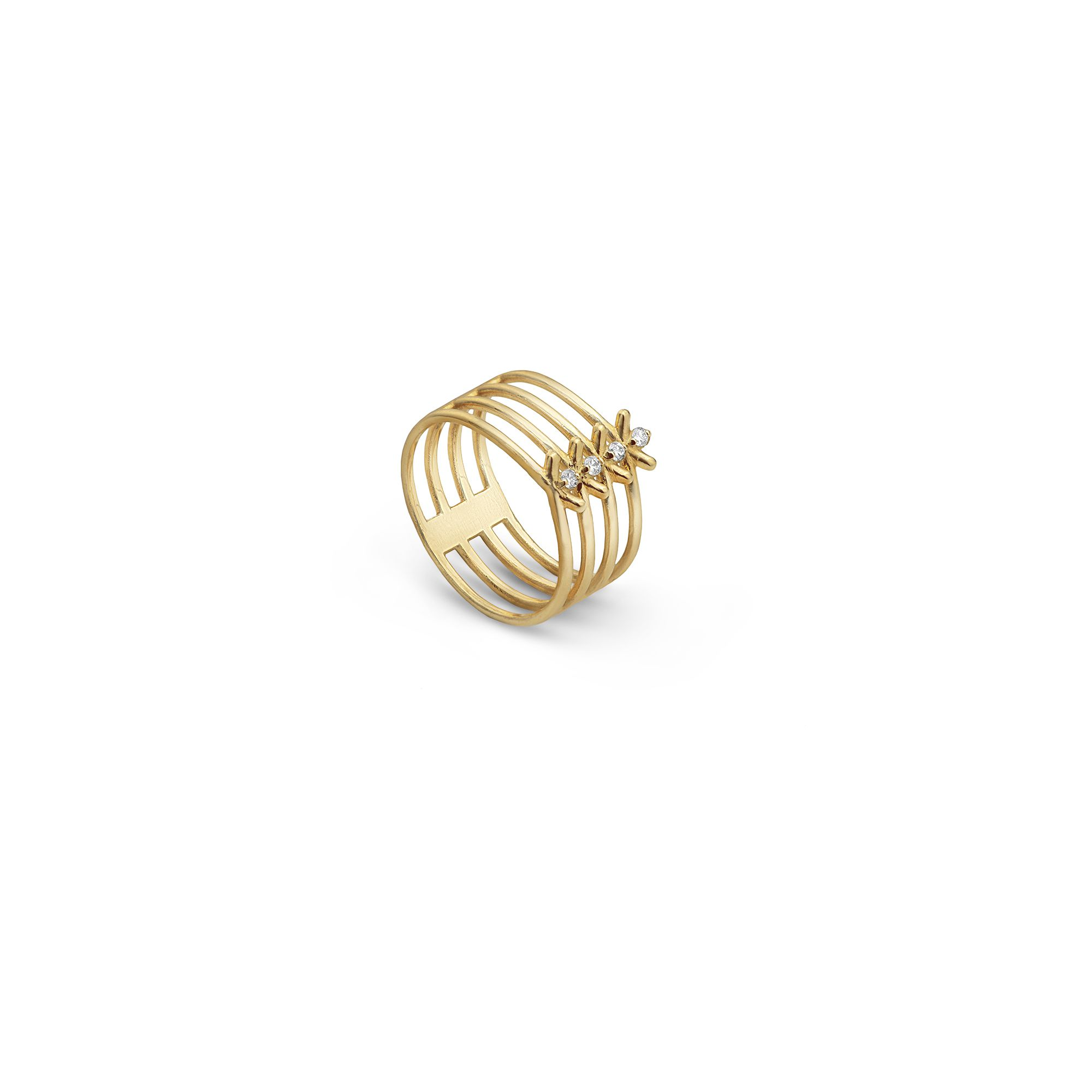 4 element 'Spinae' ring Yellow gold ring with diamonds