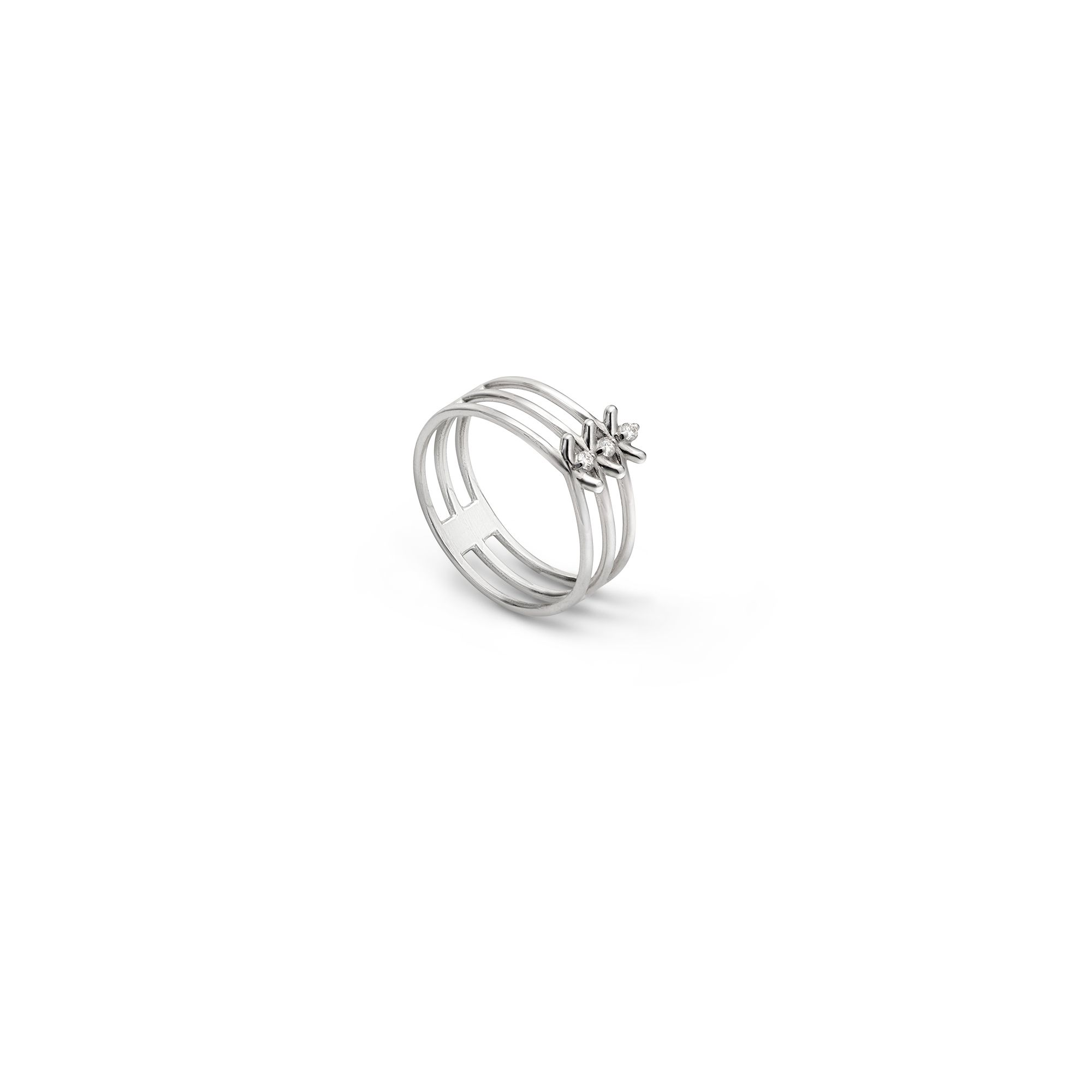 3 element 'Spinae' ring White gold ring with diamonds