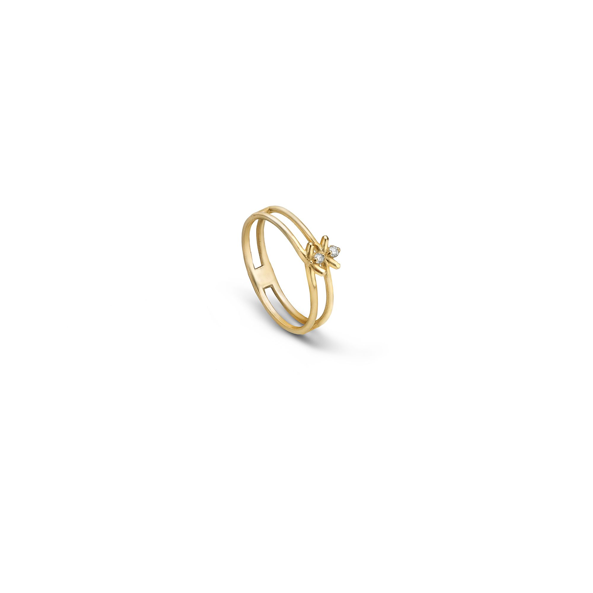 2 element 'Spinae' ring yellow gold ring with diamonds