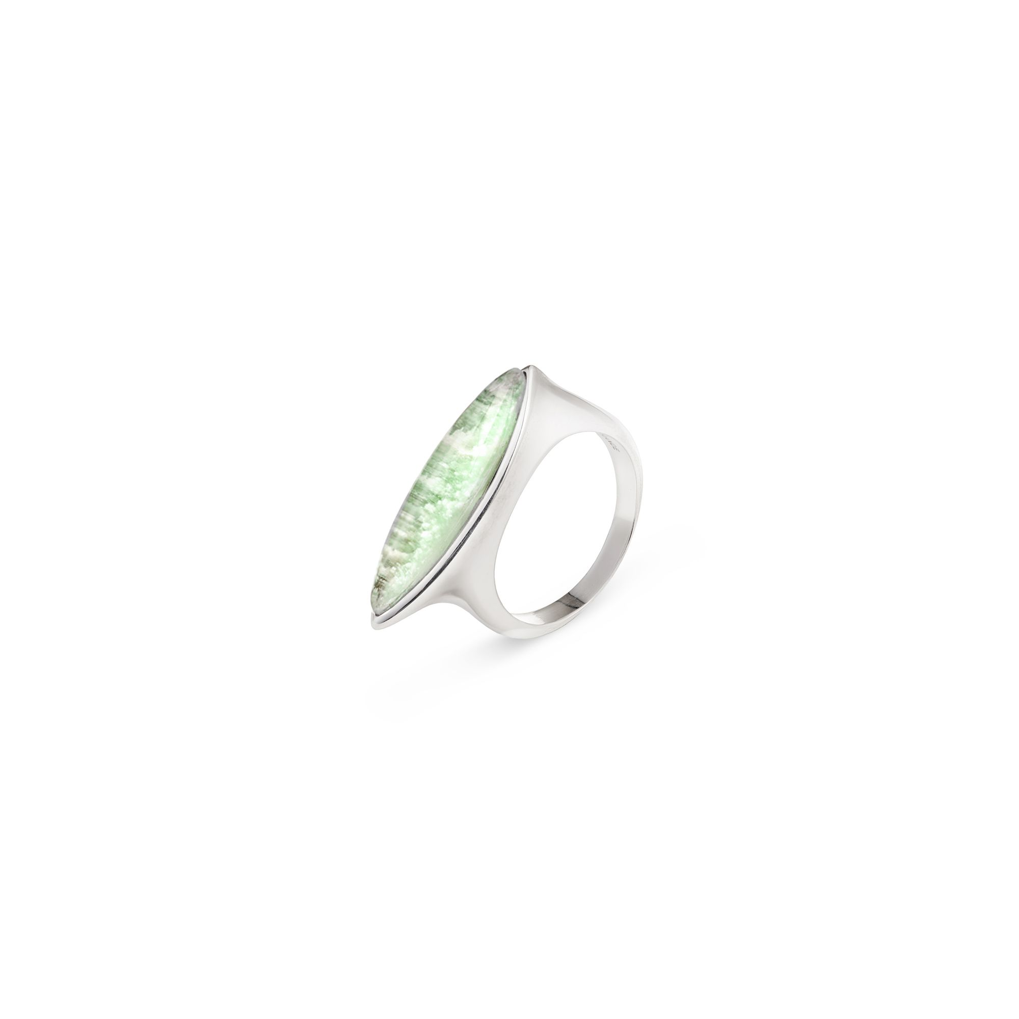 Green agate navetta ring Silver ring with stone