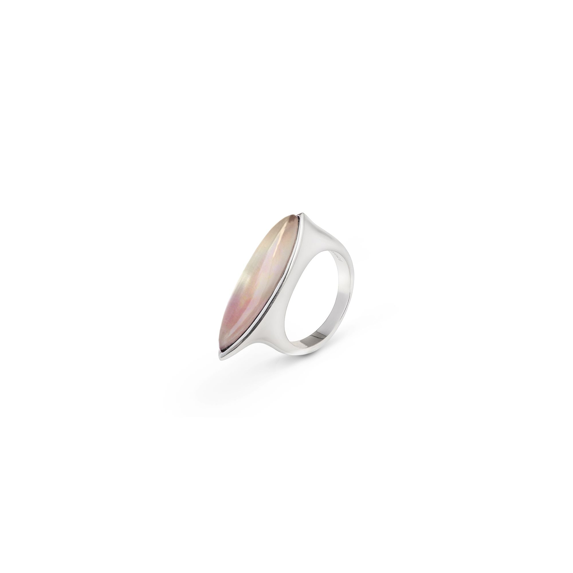Mother of pearl Navetta ring Silver ring with pink mother of pearl