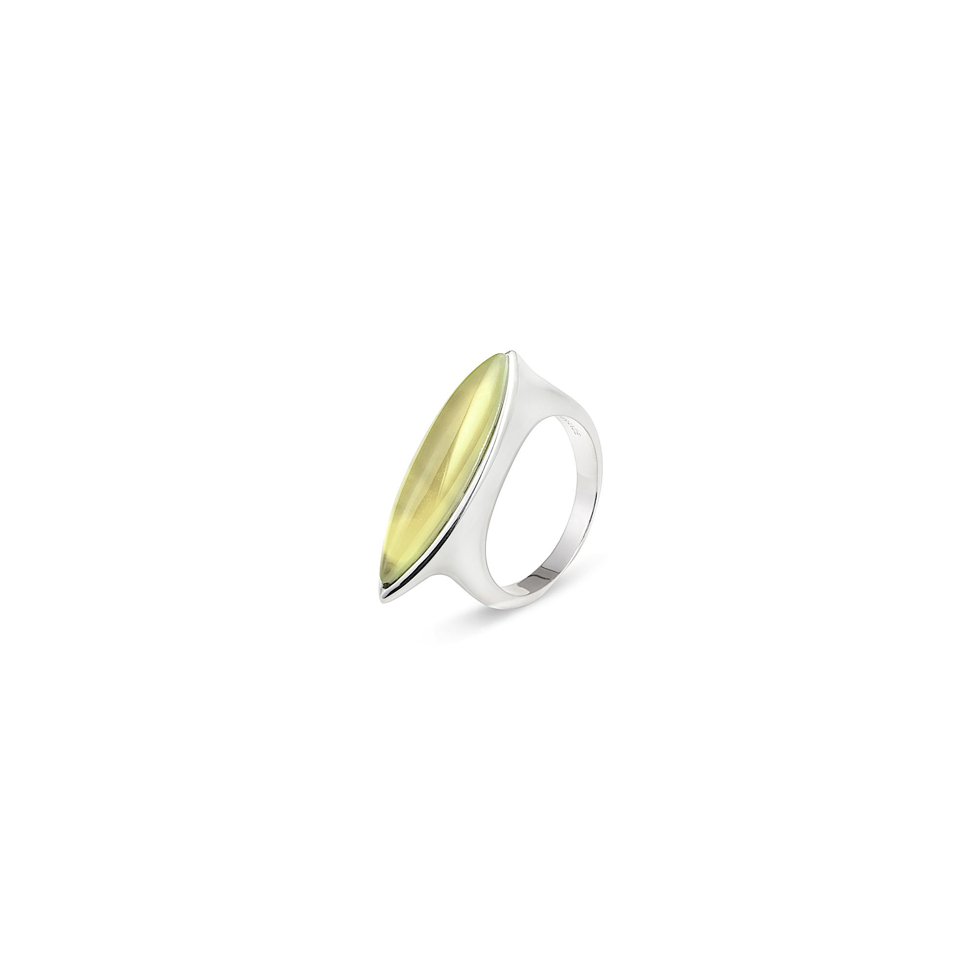 Yellow Navetta ring Silver ring with rock crystal