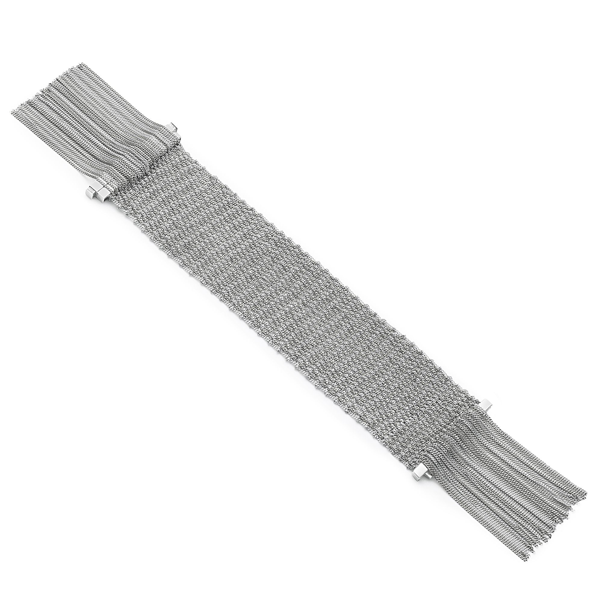 Silver knit bracelet with fringes Silver bracelet