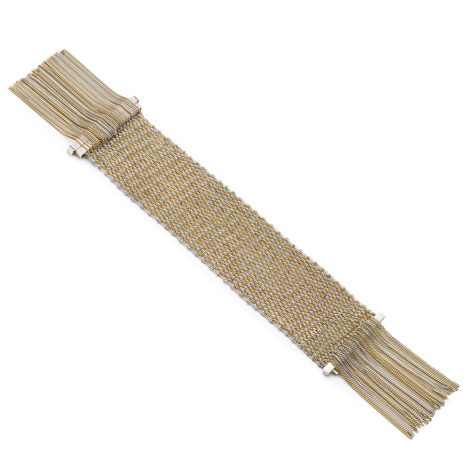 Silver knit bracelet with fringes Silver and gold plated bracelet