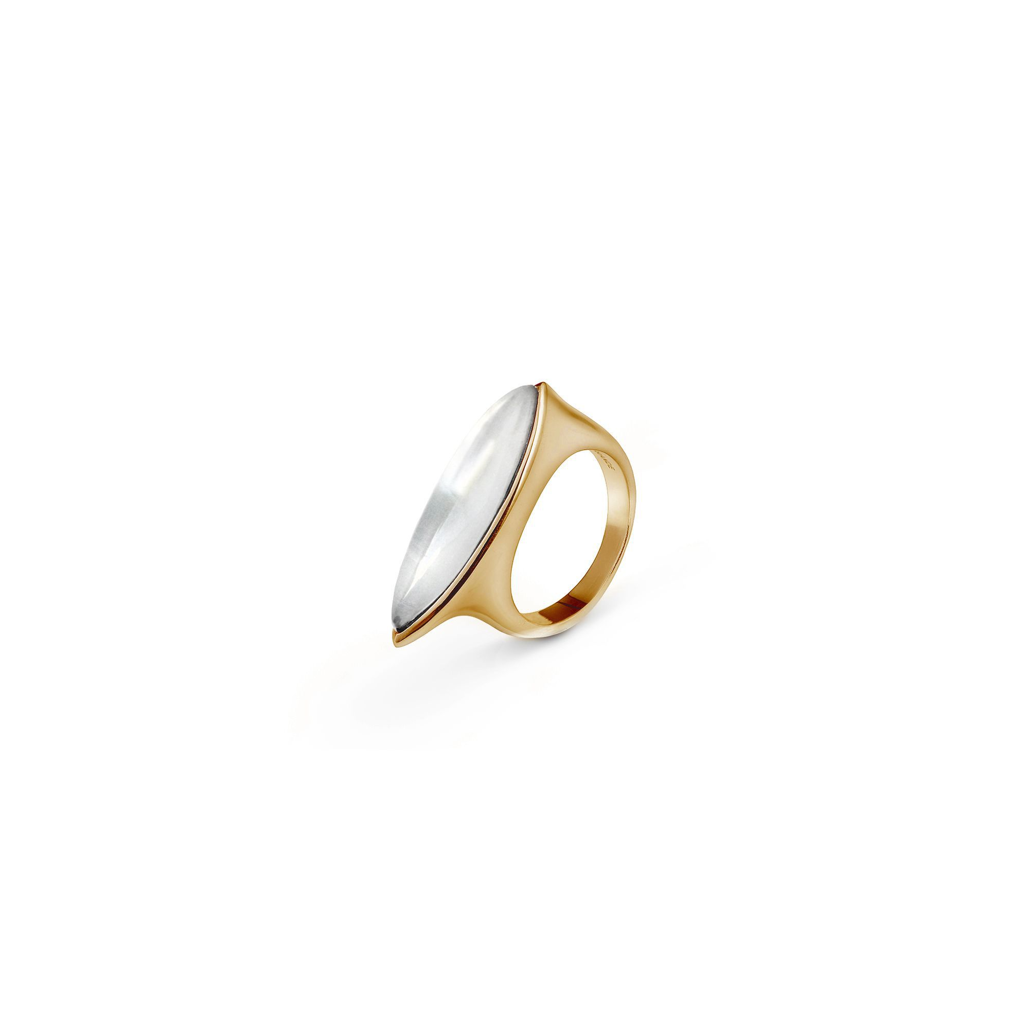 Mother-or-pearl 'Navetta' ring Bronze ring with stone