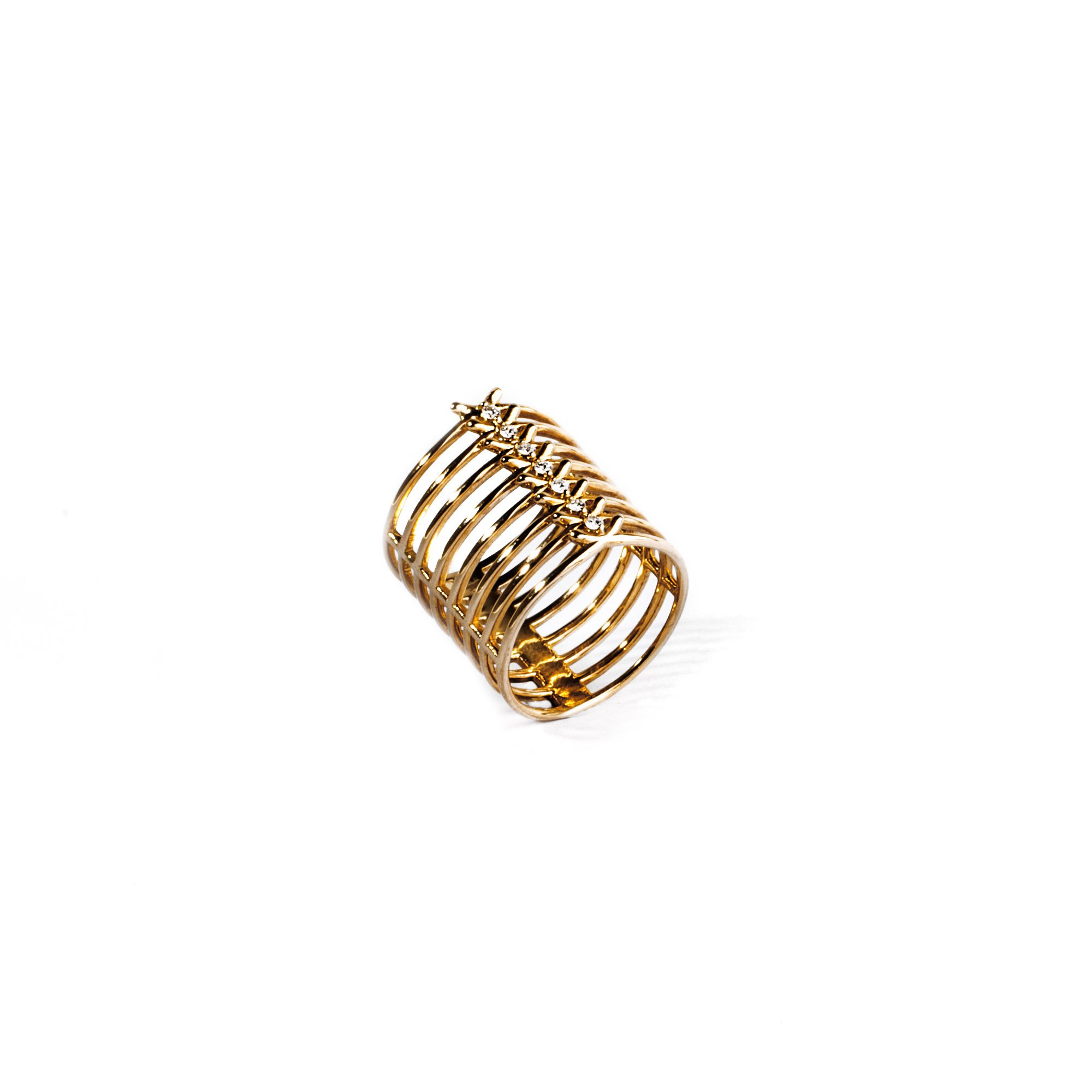 'Spinae' 8 element ring Yellow gold ring