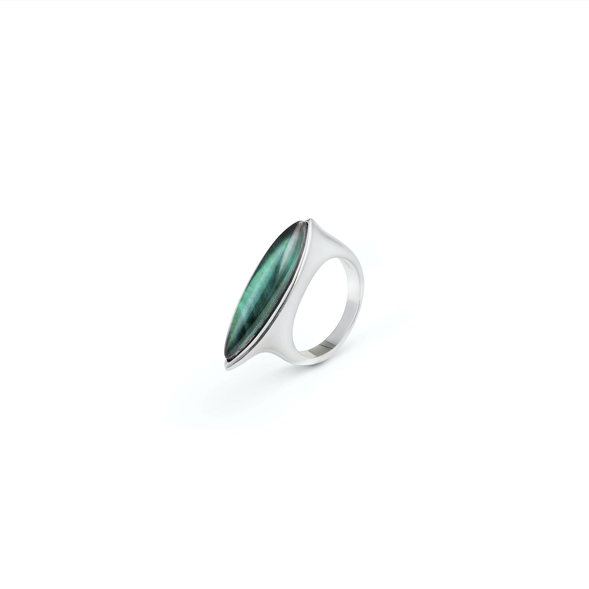 Green Navetta ring Silver ring