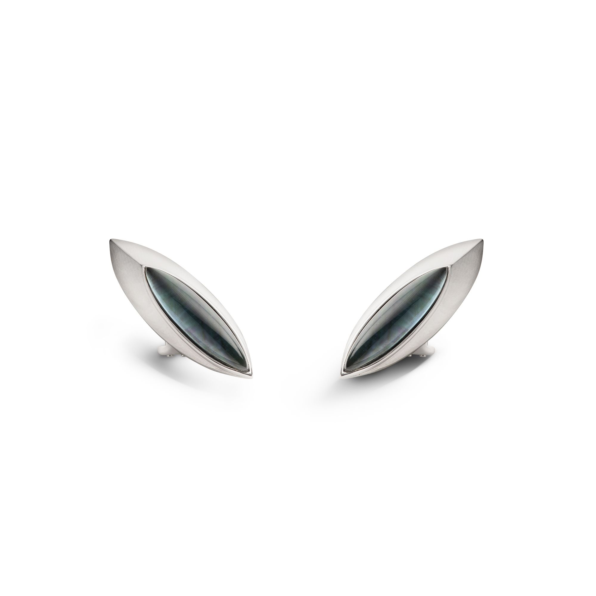 Shield 'Navetta' earrings  Silver earrings with stone