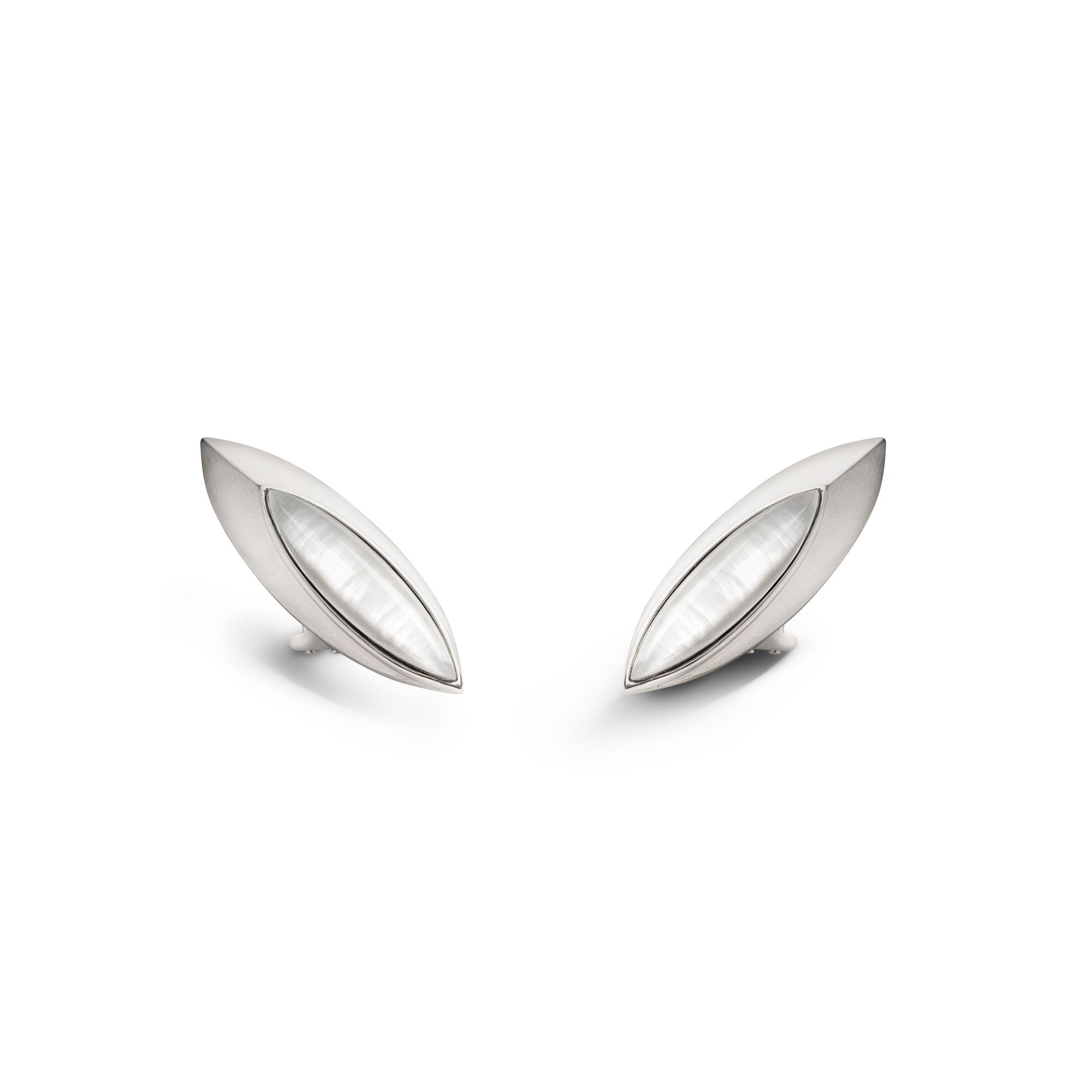 White 'Navetta' shields Silver earrings with stones