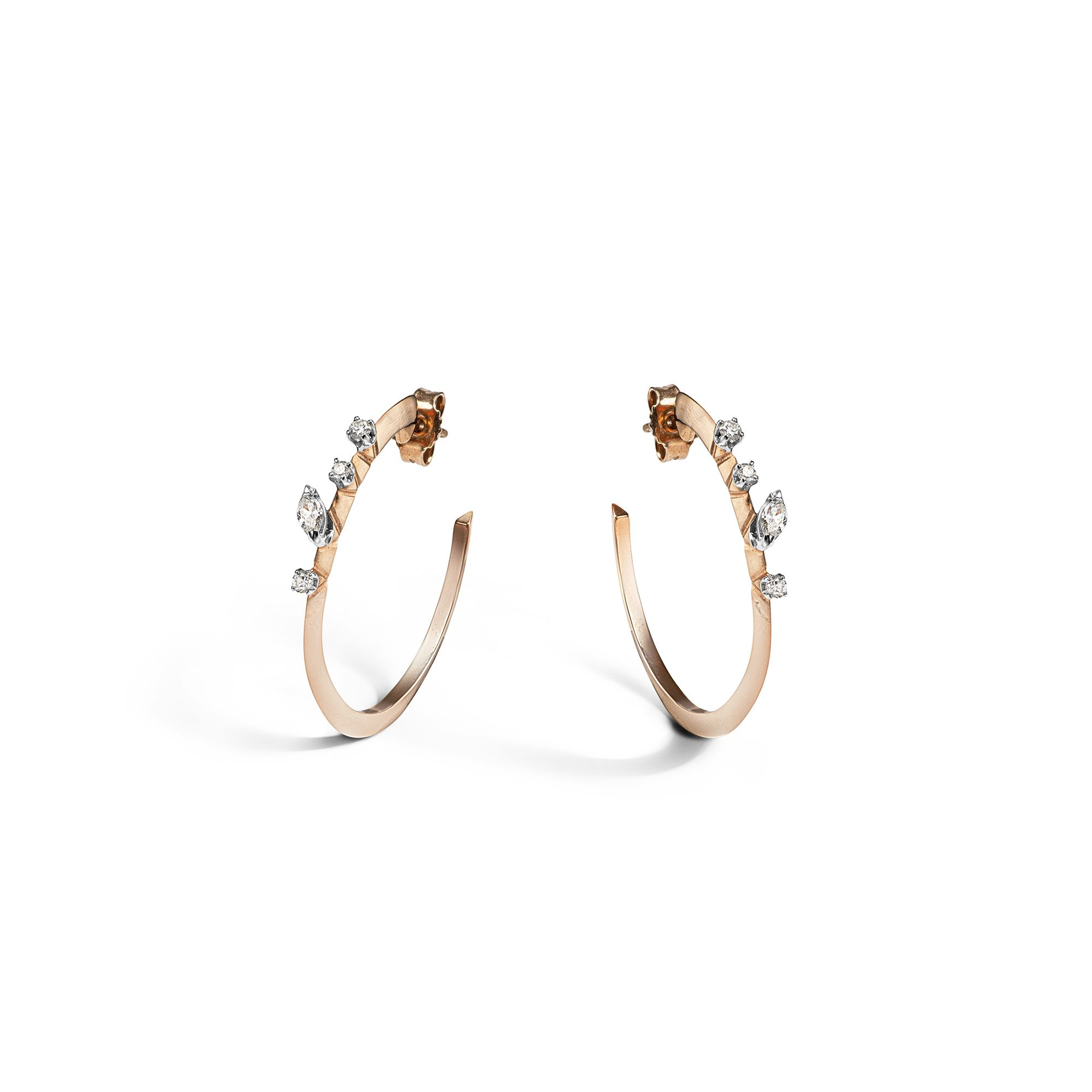Rose gold 'Balance' hoop earrings Rose gold earrings with diamonds