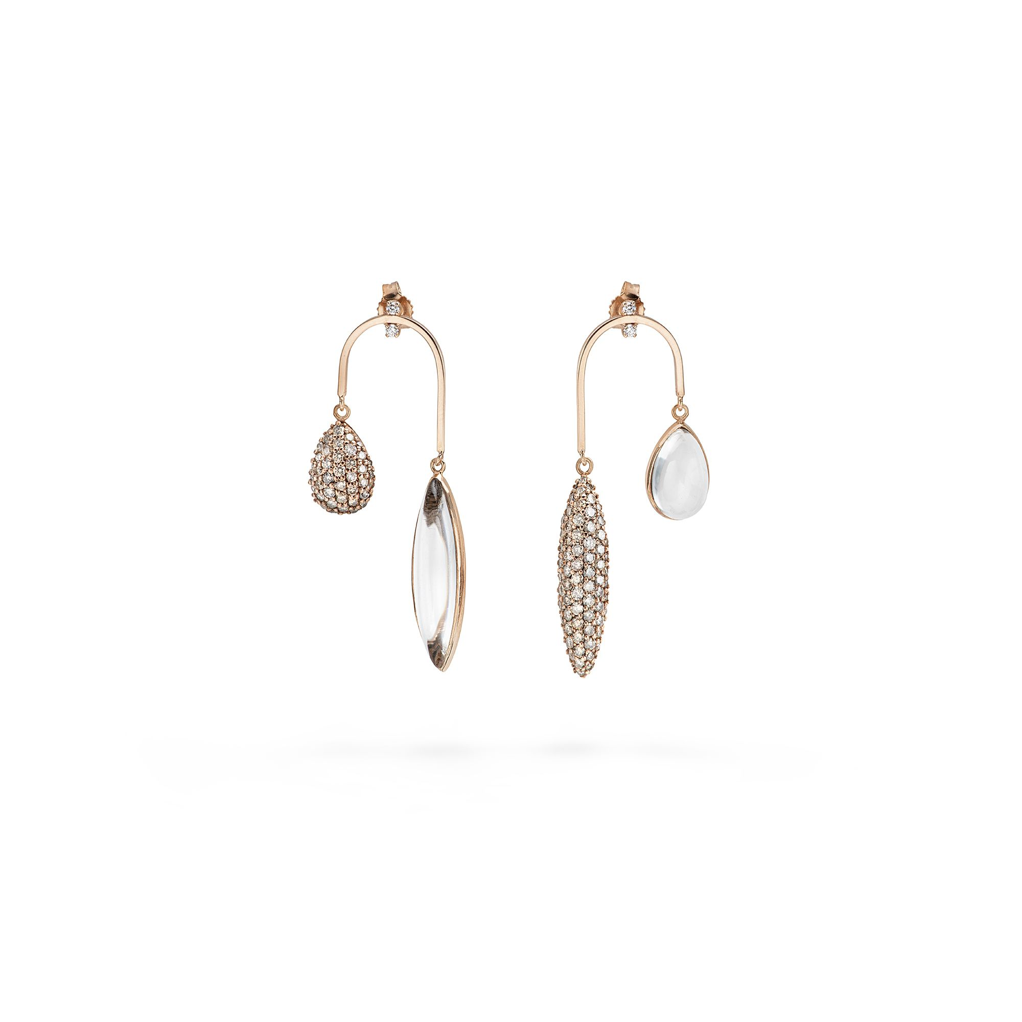 Curved earrings with diamonds Rose gold earrings with diamonds