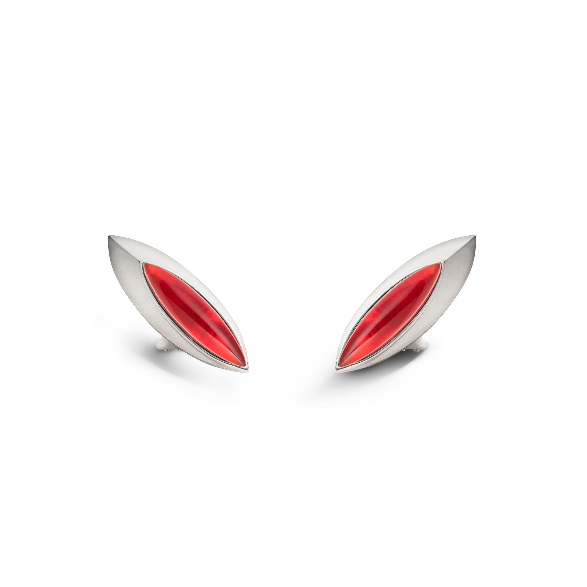 Red 'Navetta' shields Silver earrings with red stones