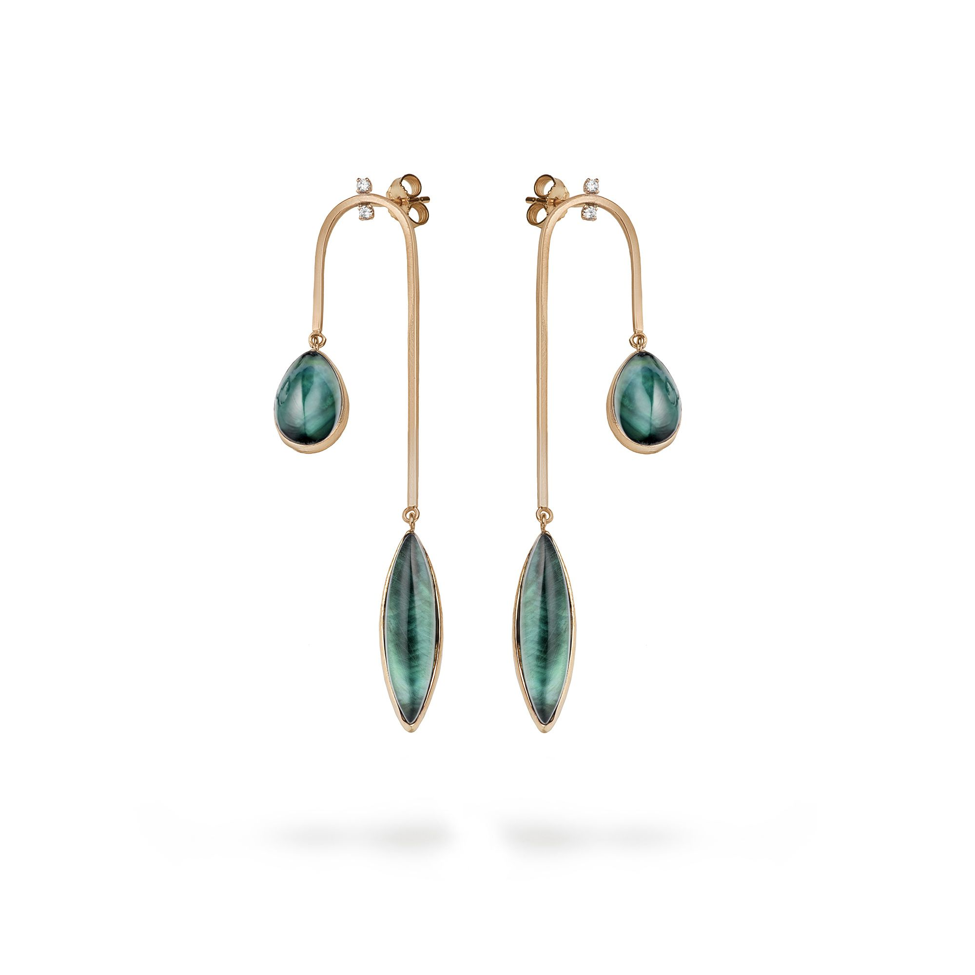 Double drop earring Rose gold earrings with doublet stones