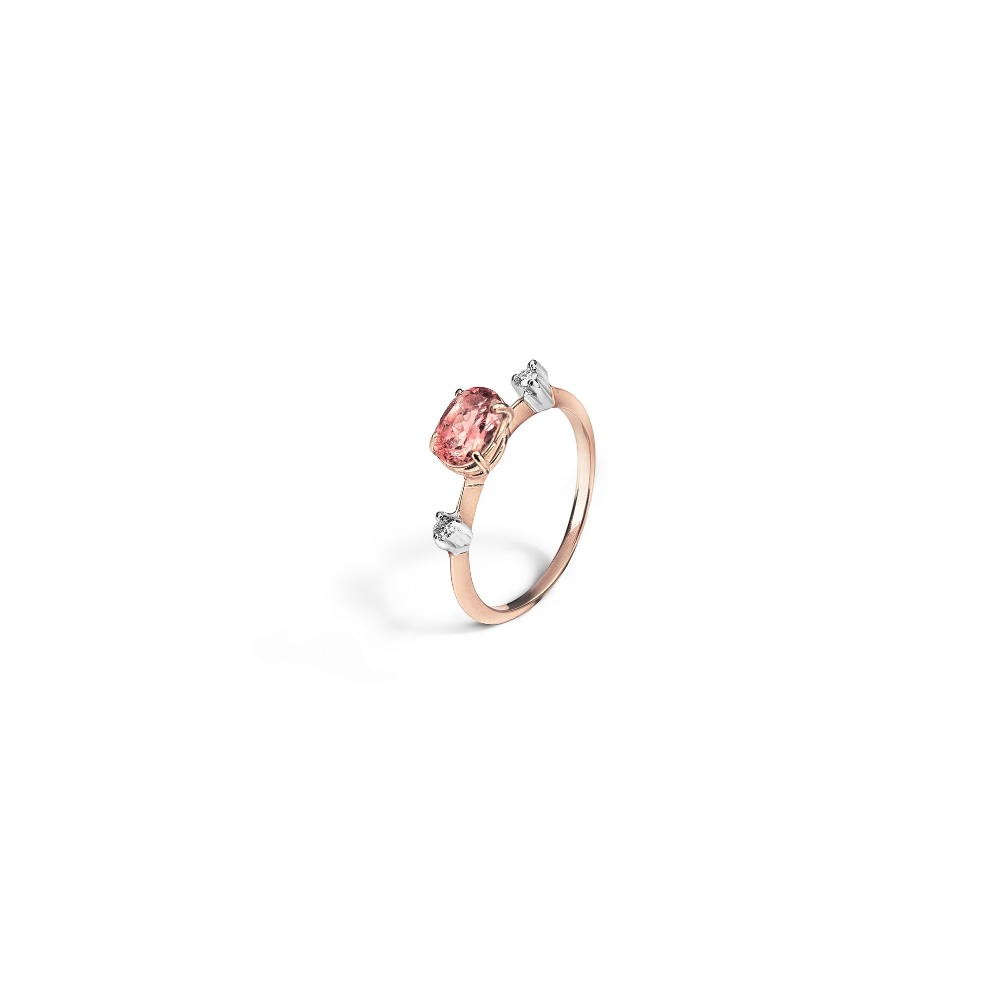 'Balance' tourmaline ring Rose gold ring with diamonds