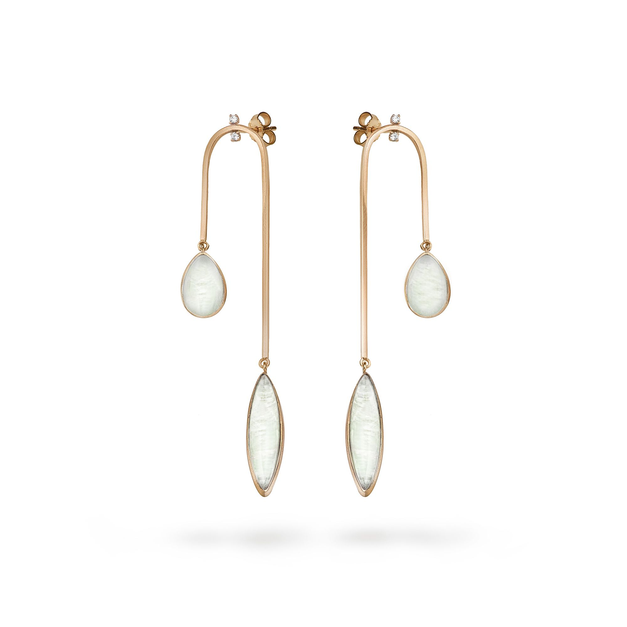 Curved 'Amo' earrings Rose gold earrings with diamonds and green agate