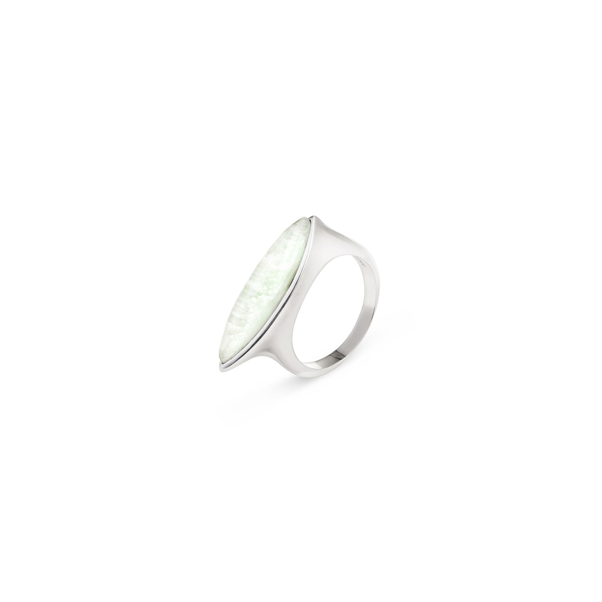 Navetta ring with agate Silver ring with light green agate