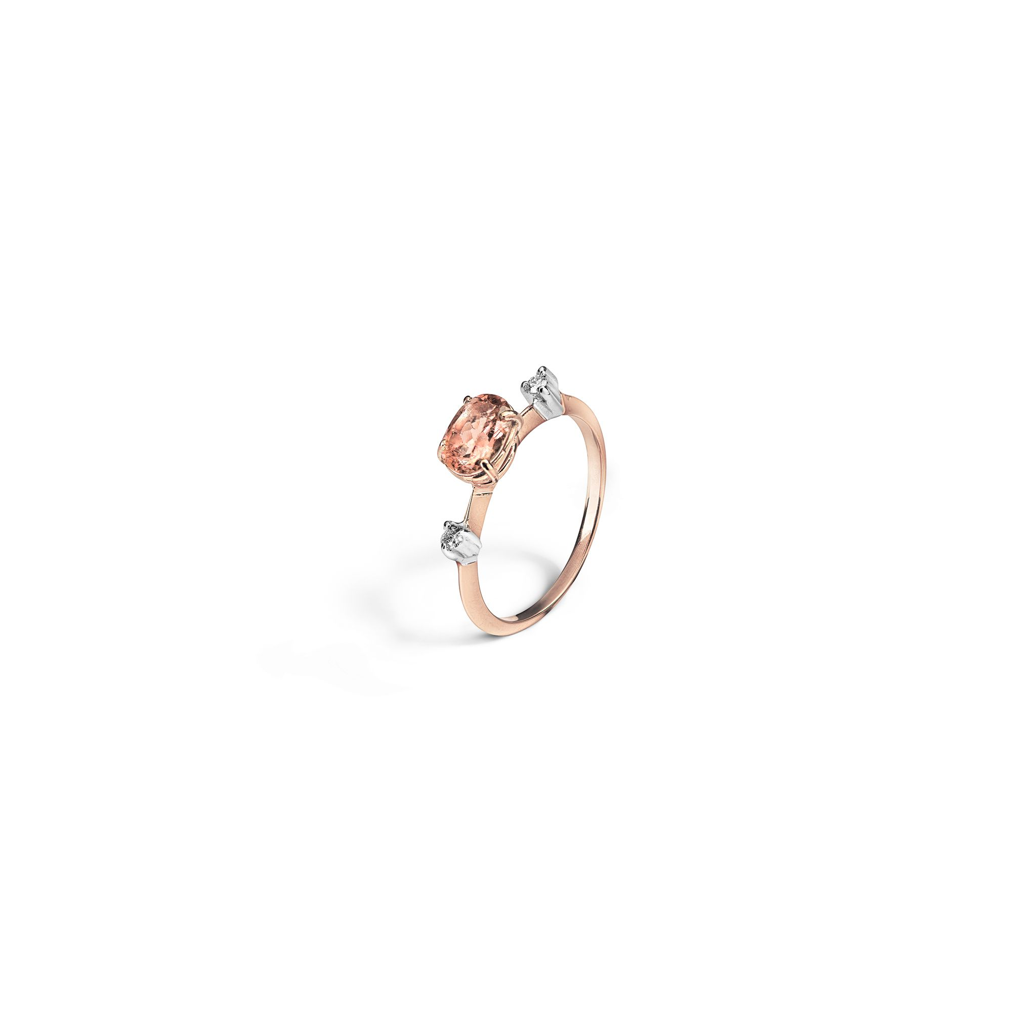 'Balance' ring with tourmaline Rose gold ring with tourmaline and diamonds