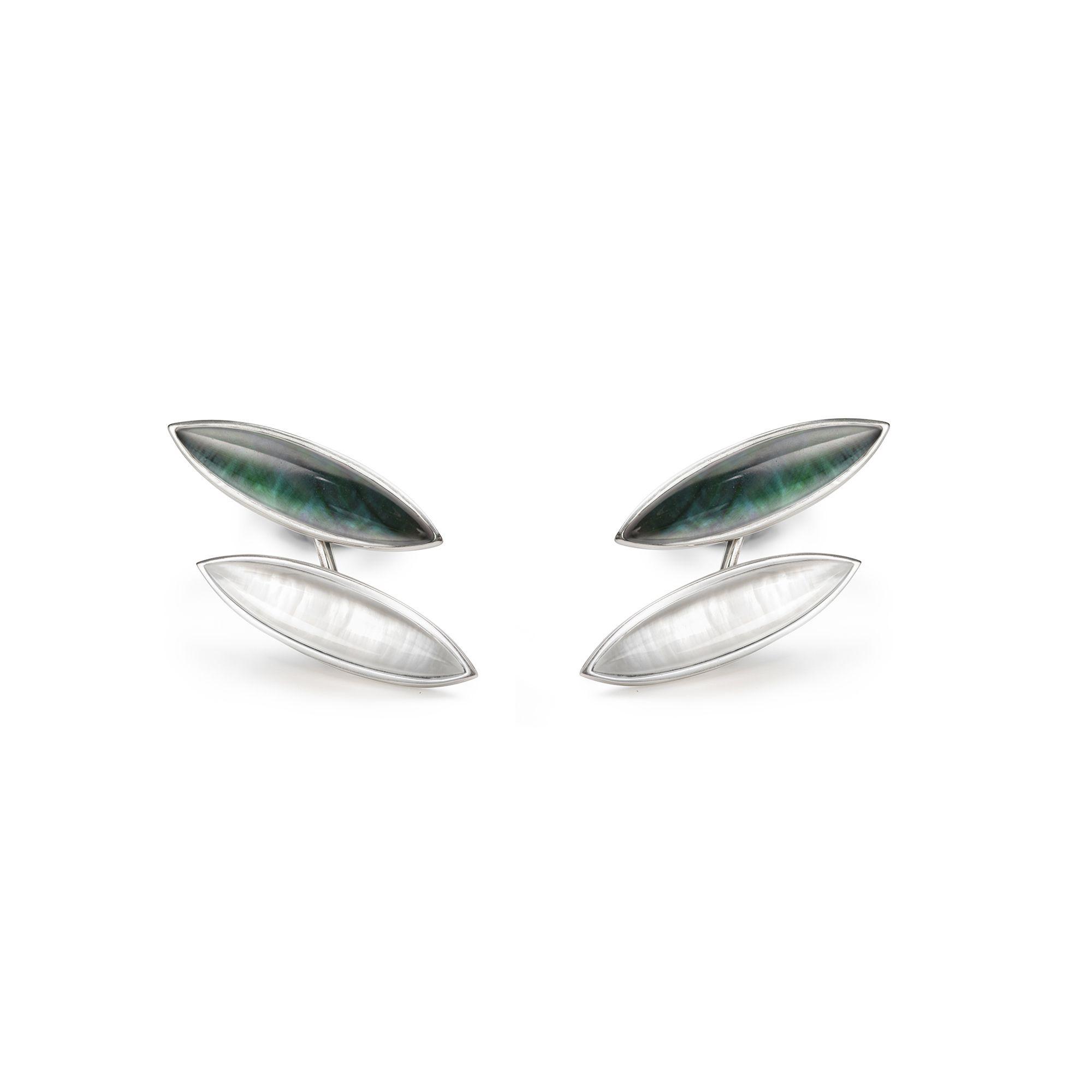 'Navetta' piercing earrings Silver earrings with doublet stones