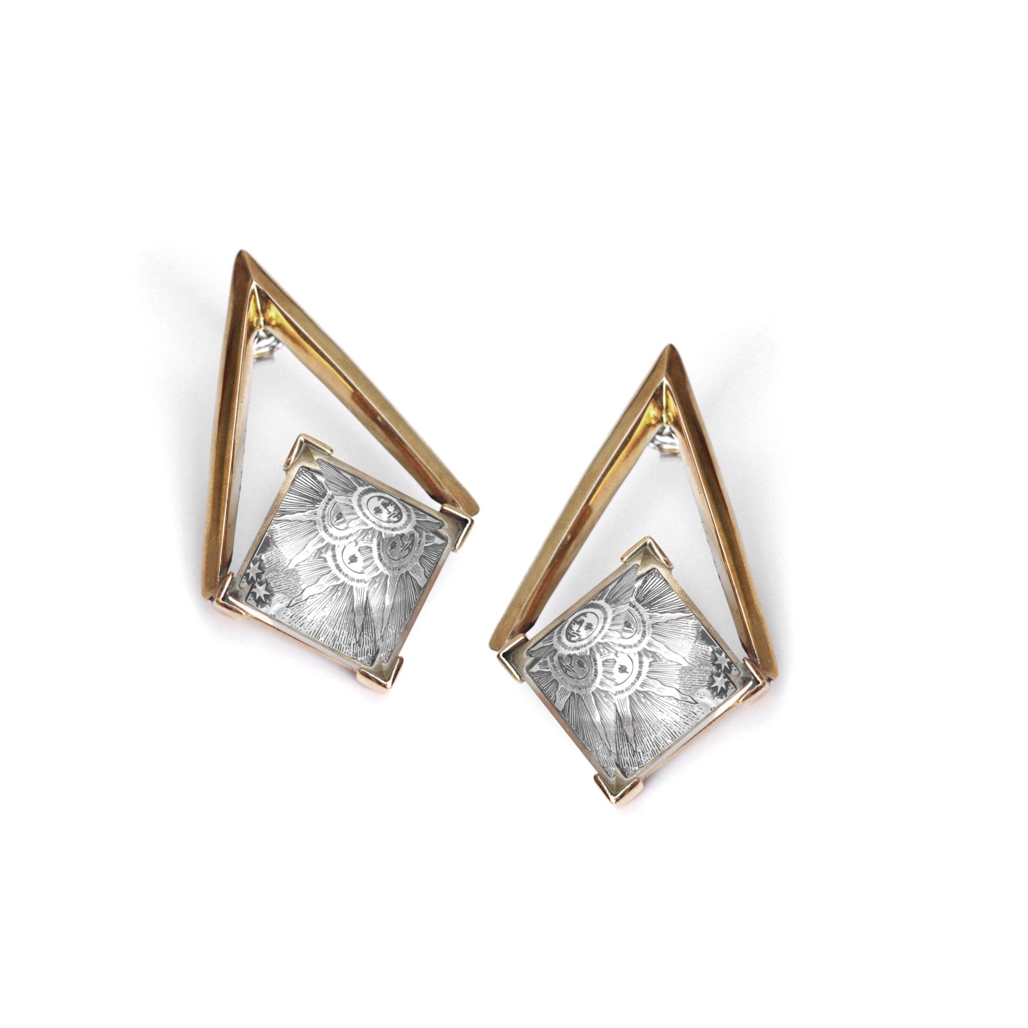 Medium 'Entropia' earrings Bronze and silver earrings with pyramid