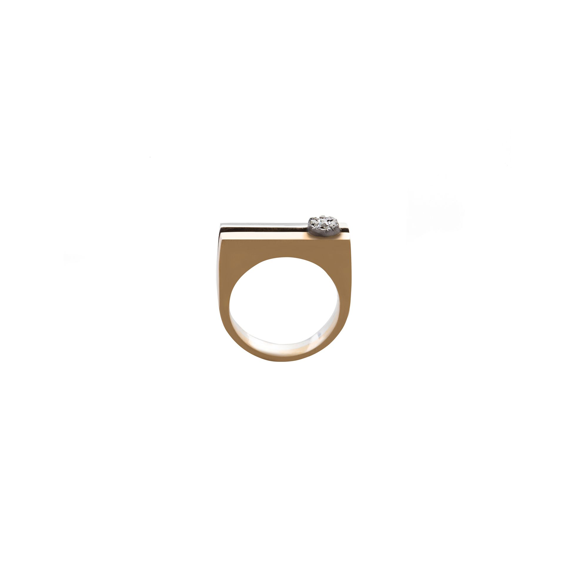 'Congiunzioni' double ring with drusa Silver and bronze ring with mineral
