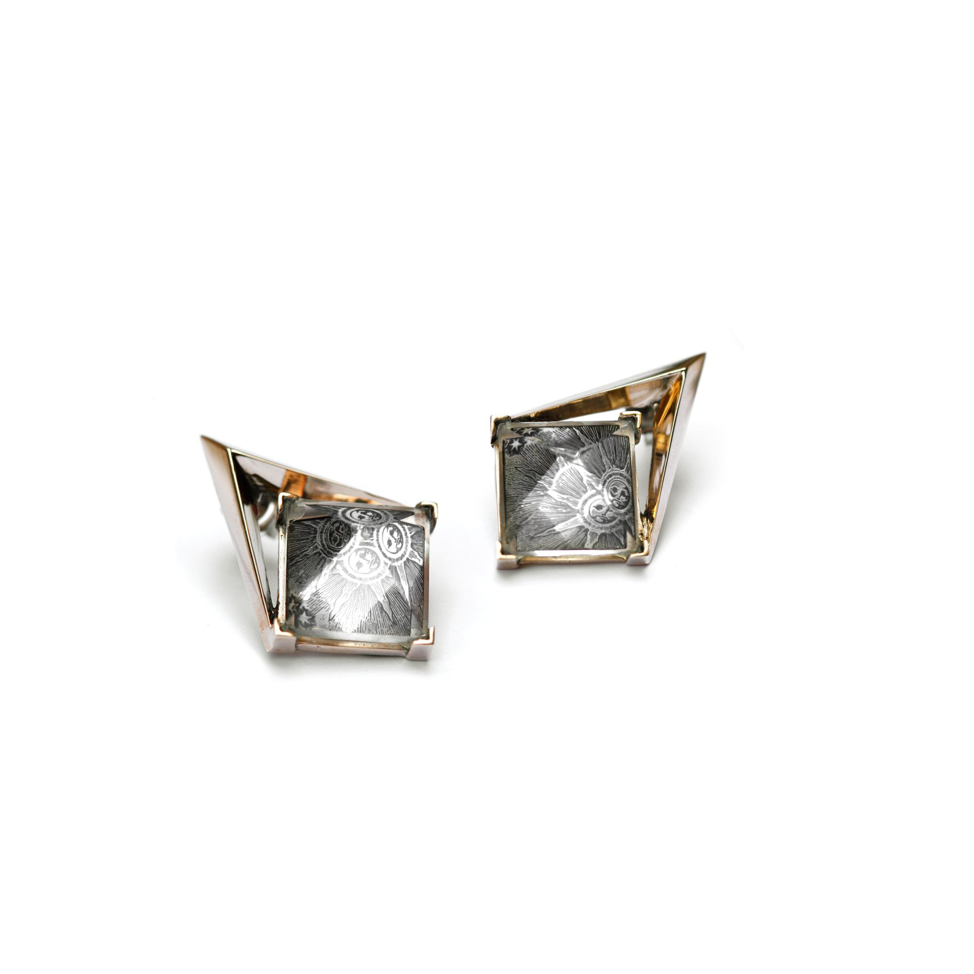 'Entropia' earrings with sun Bronze and silver earrings with pyramid