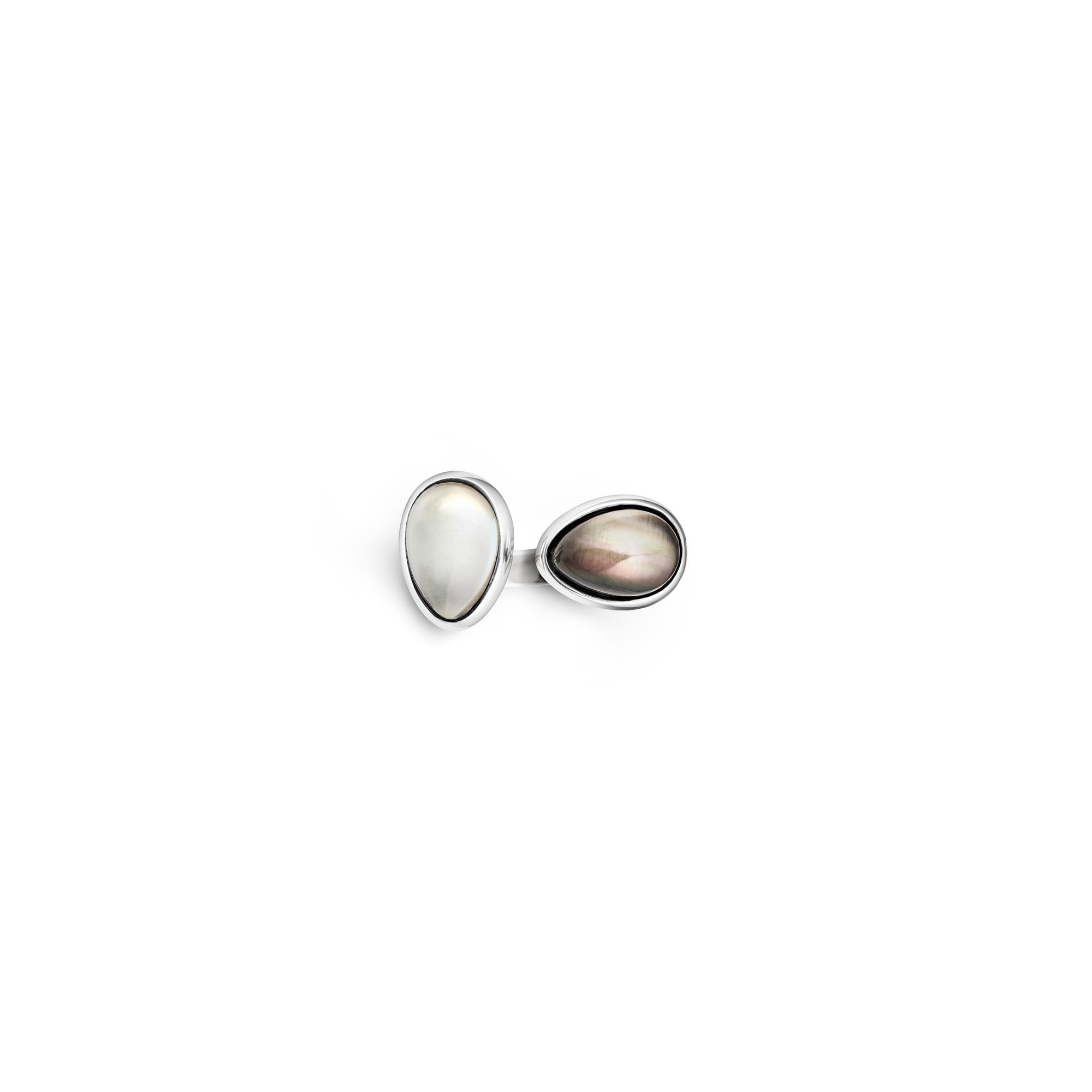 2 element white|grey Drop ring Silver ring with stones