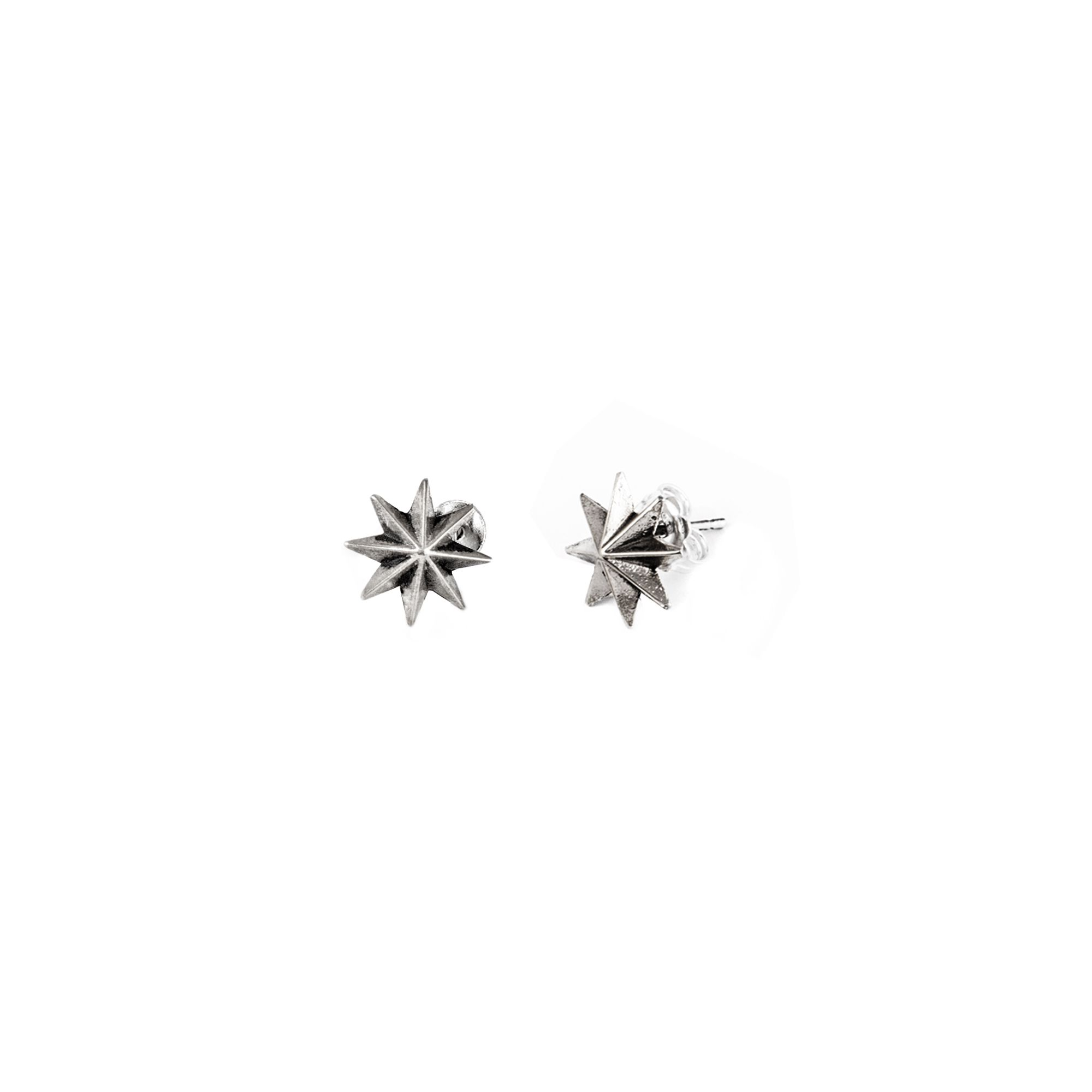 'Star of the winds' earrings Lobe earrings in silver