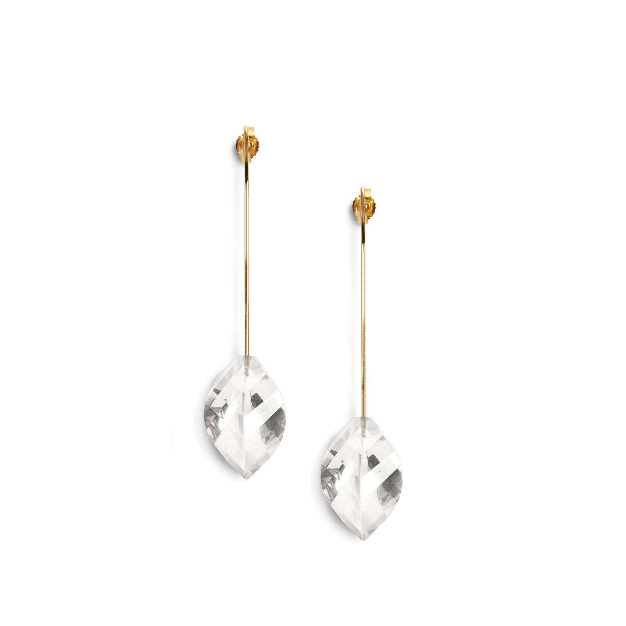 Yellow gold 'Amo' earrings Yellow gold earrings with rock crystals