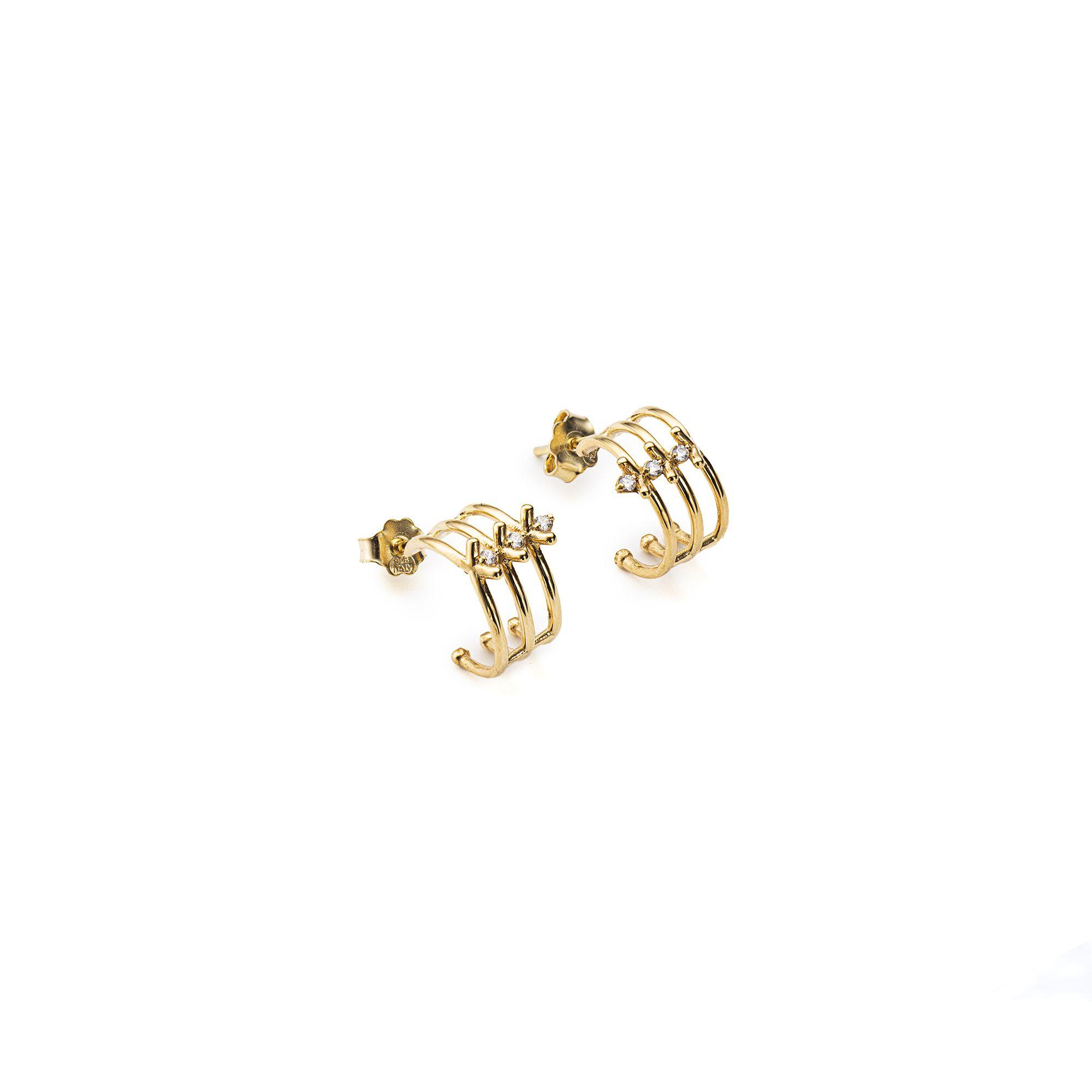 3 element 'Spinae' hoop earrings Bronze earrings with stones