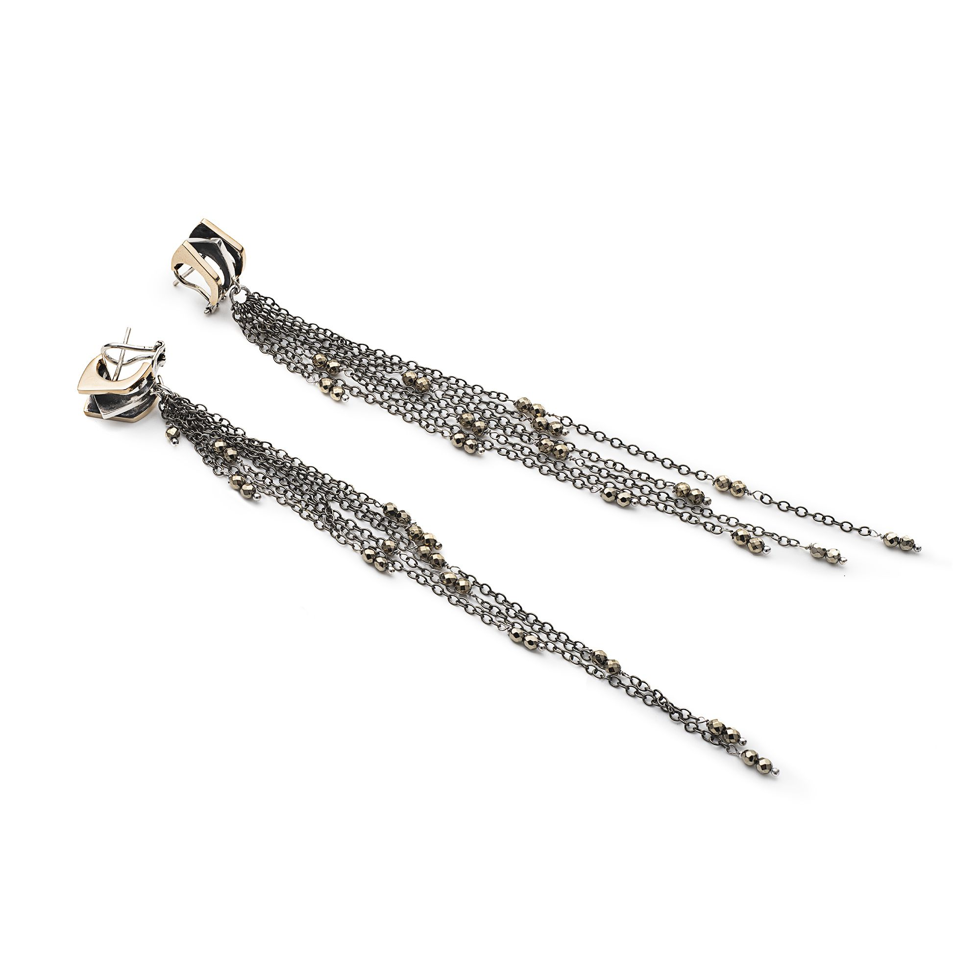 3 element 'Congiunzioni' earrings with fringes Silver and bronze earrings with long fringes