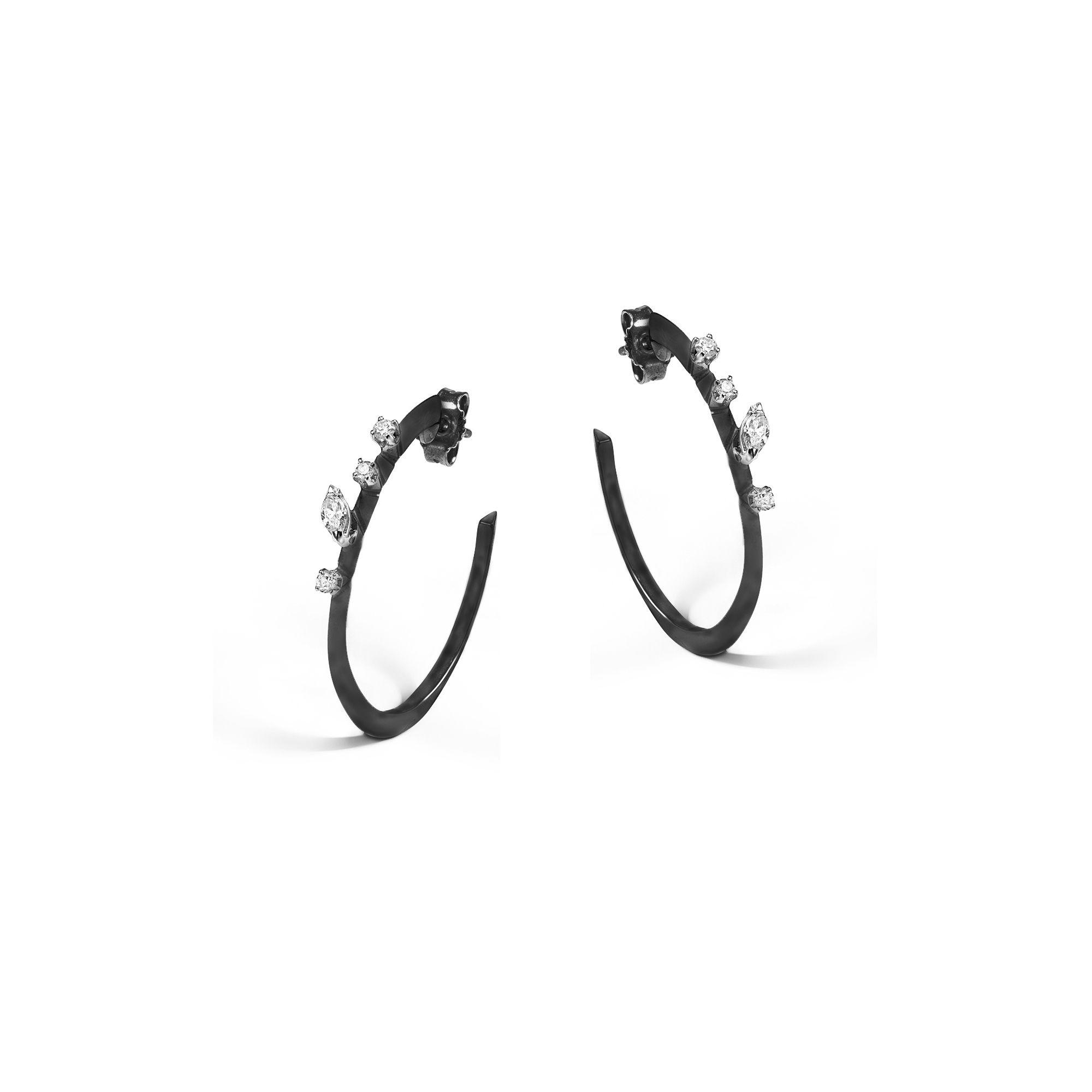 M 'Balance' hoop earrings Black gold earrings with diamonds