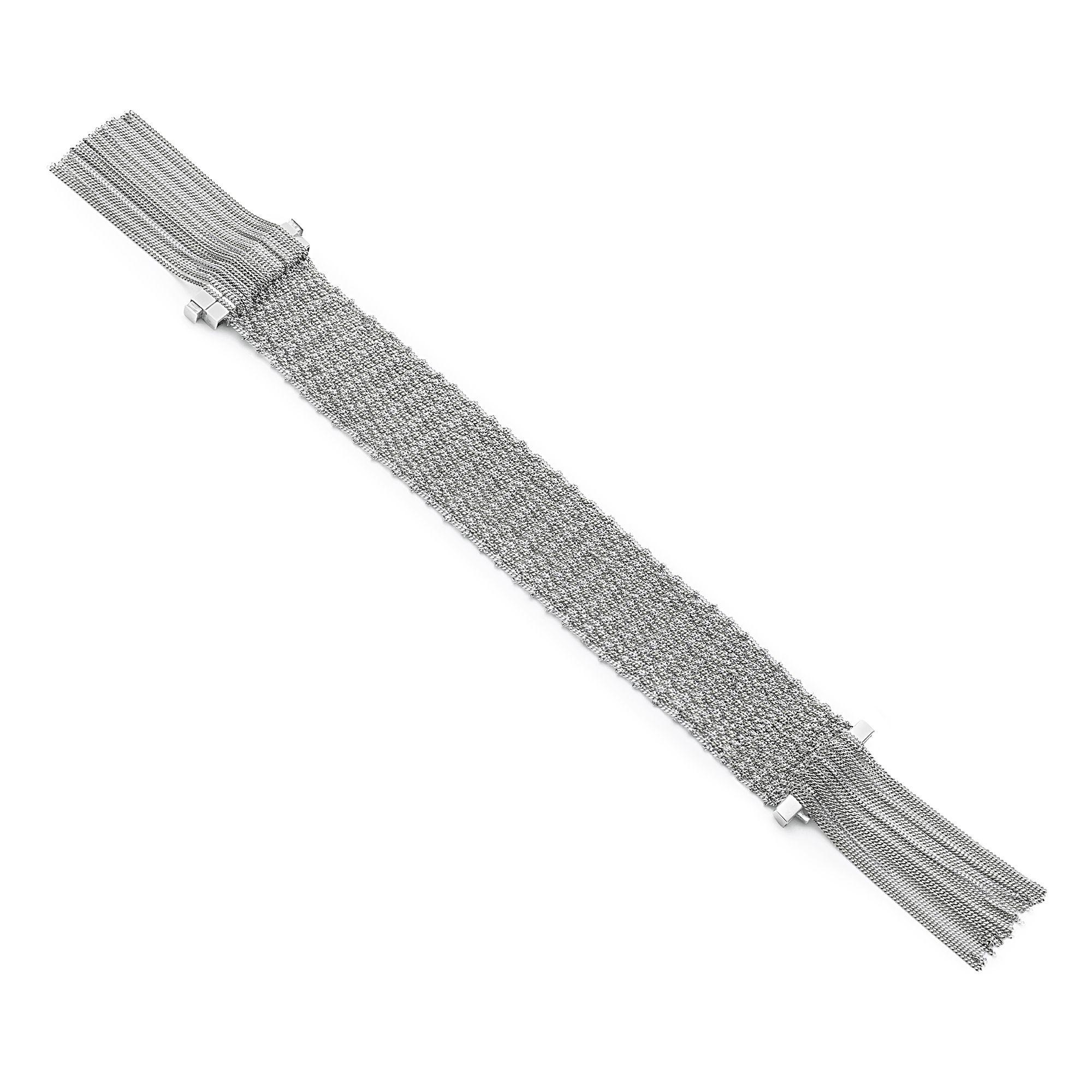 Silver knit bracelet with fringes 2 cm silver bracelet