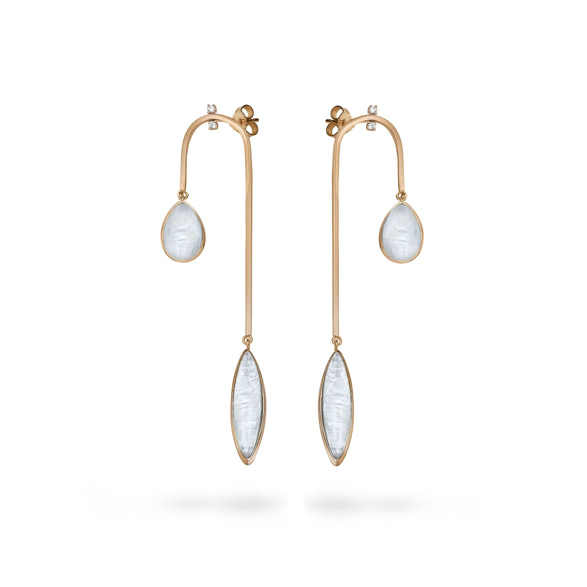 Curved 'Amo' earrings Rose gold earrings with diamonds and aquamarine