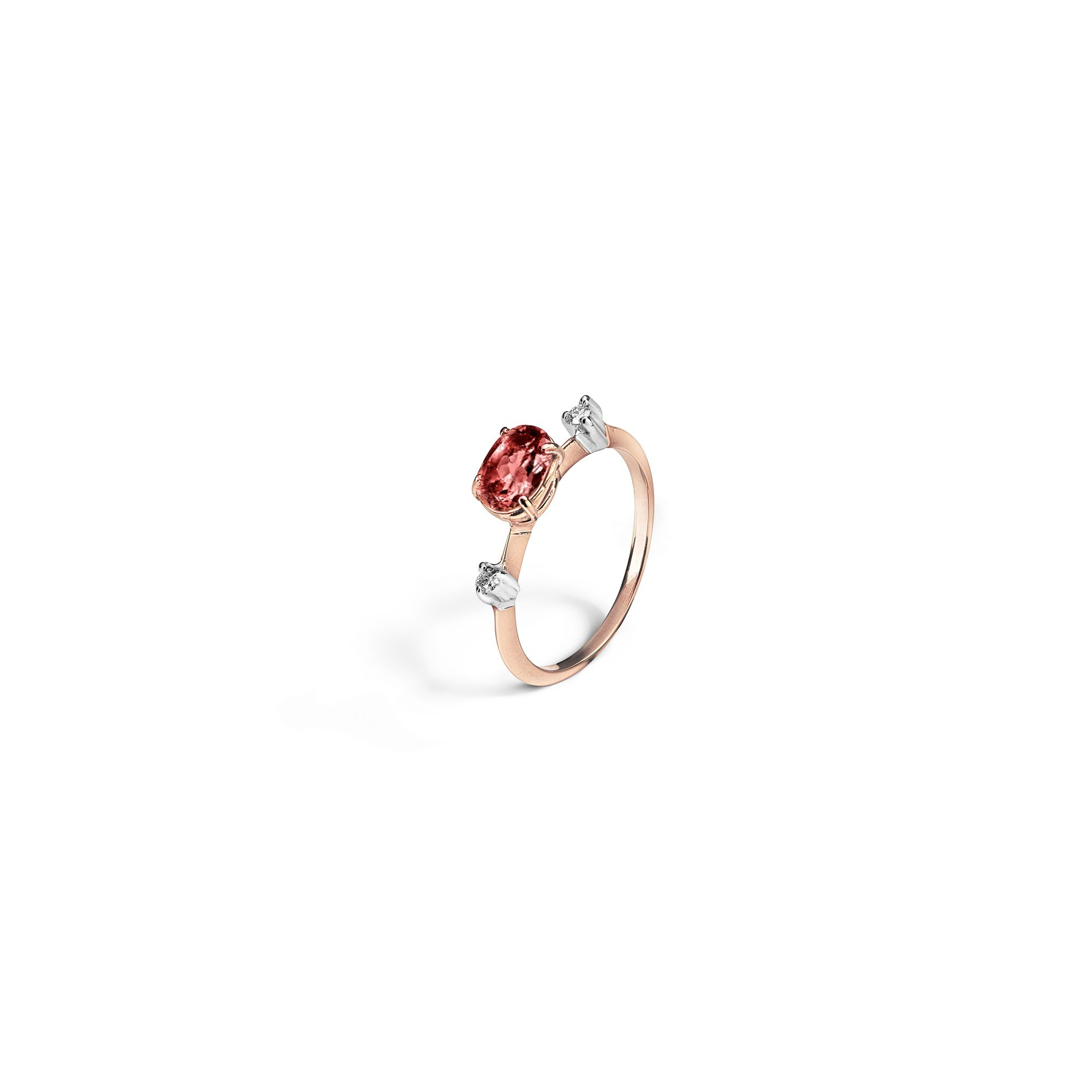 Tourmaline 'Balance' ring Rose gold ring with a tourmaline and diamonds