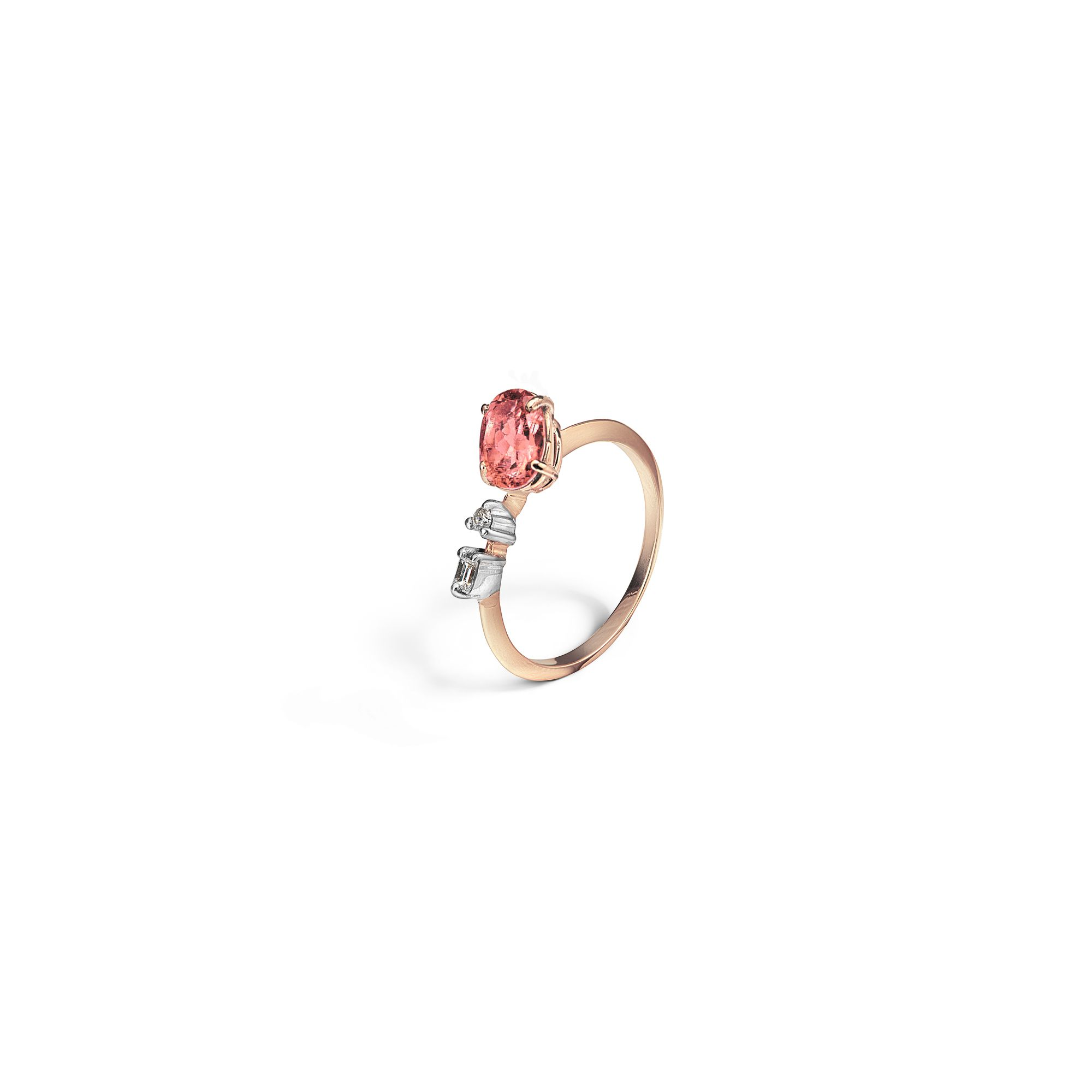 'Balance' ring with tourmaline Rose gold ring with diamonds and pink tourmaline