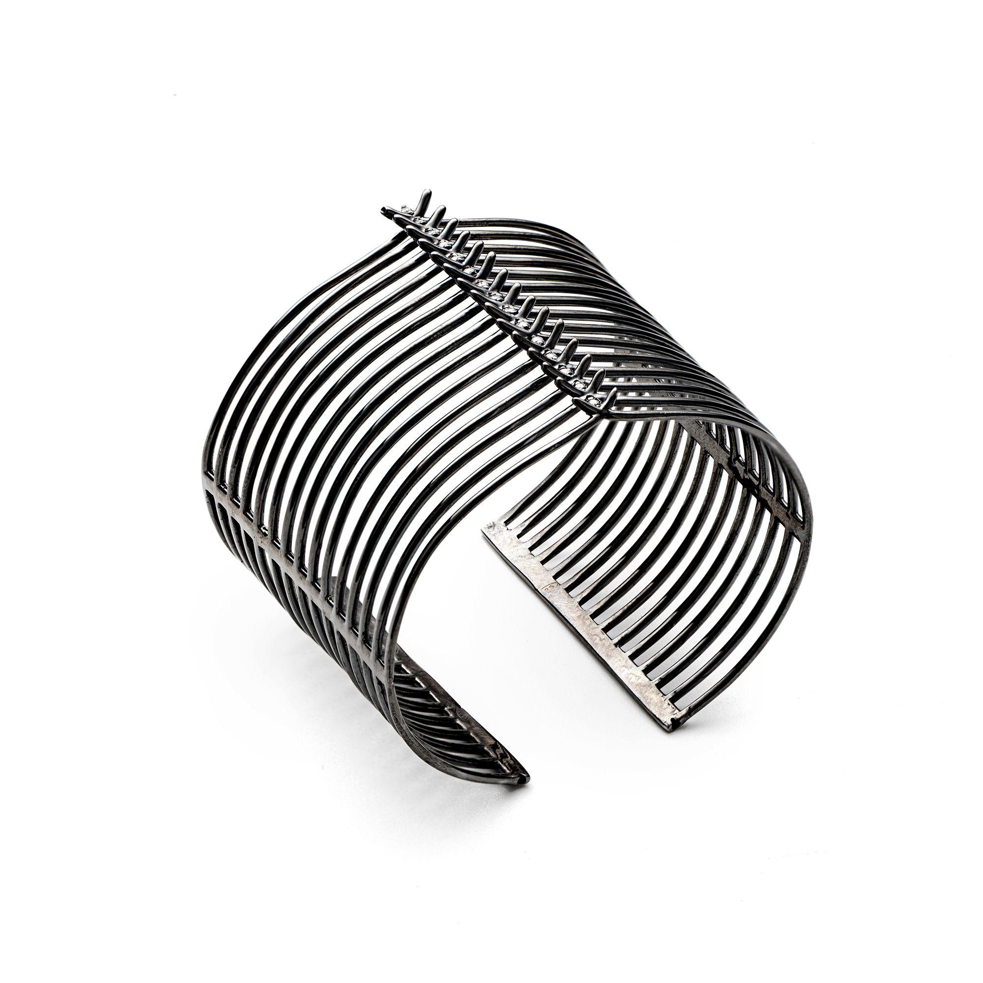 15 element 'Spinae' bracelet Black silver cuff bracelet with stones