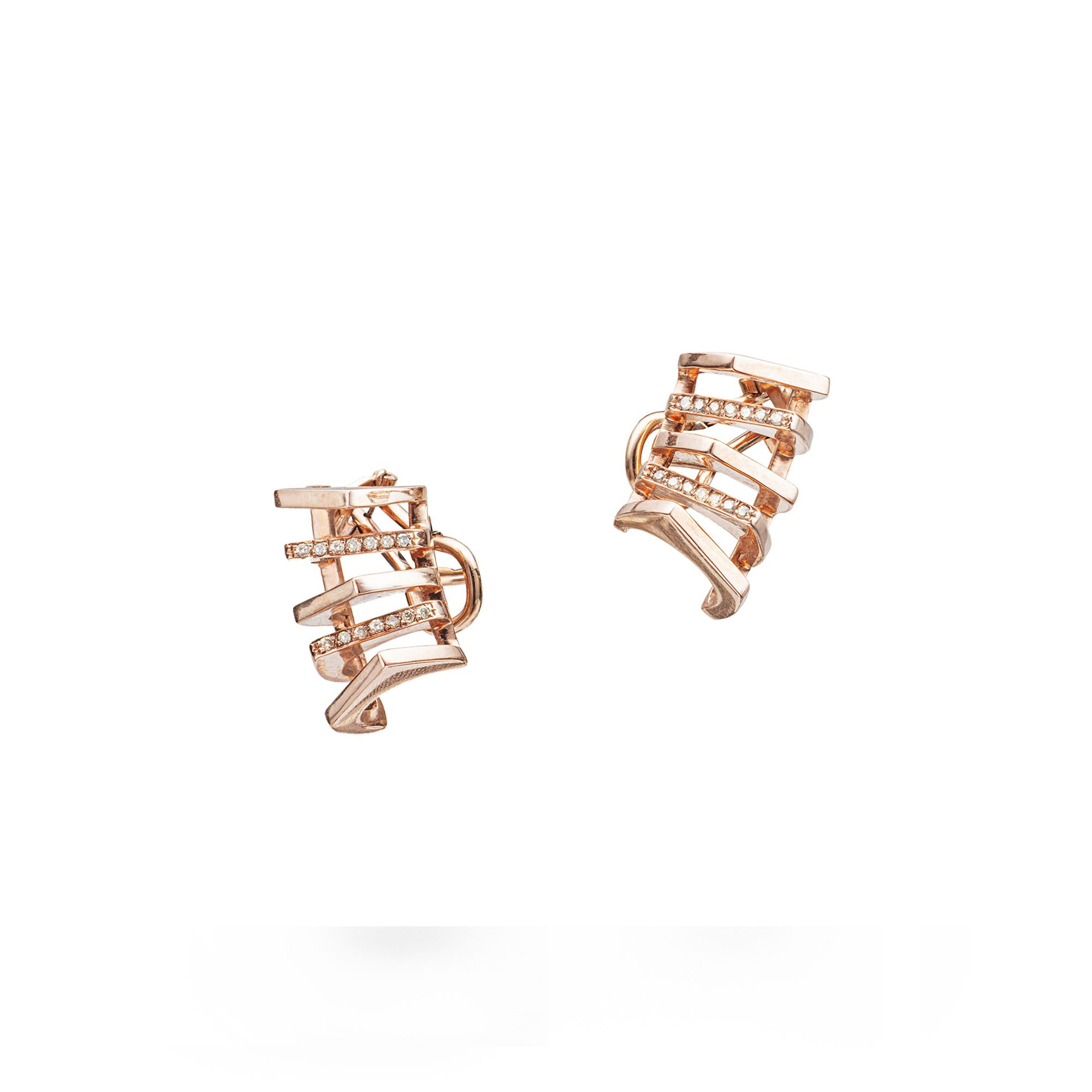 Orecchini 'Congiunzioni' 5 elementi Orecchini in oro rosa e diamanti champagne