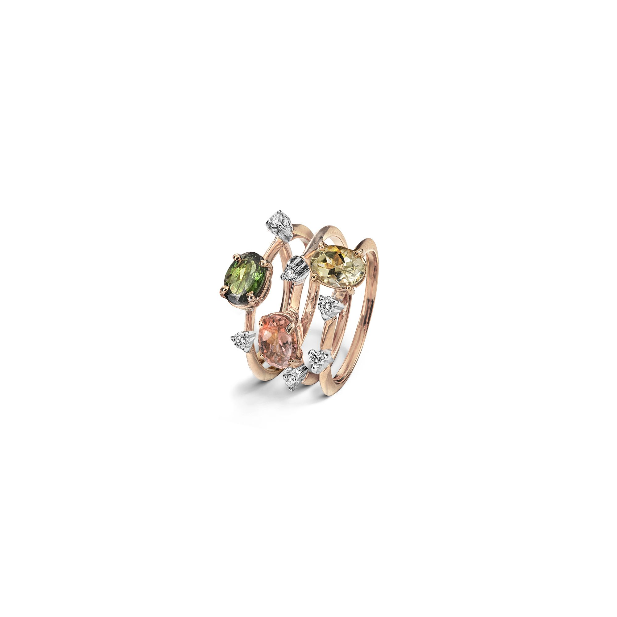 Tourmaline Tris 'Balance' rings Rose gold rings with tourmalines and diamonds