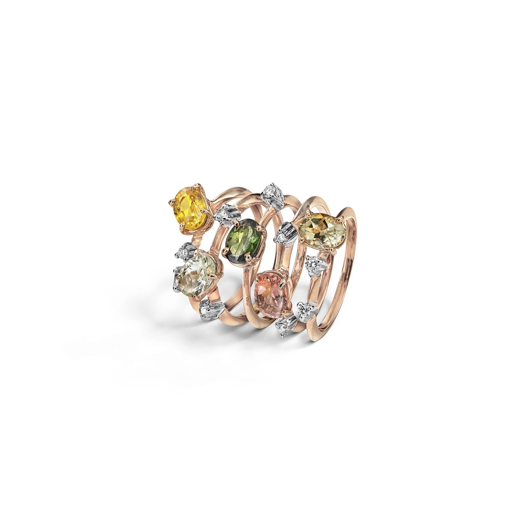 Set of 5 'Balance' rings with tourmalines Rose gold rings with tourmalines and diamonds
