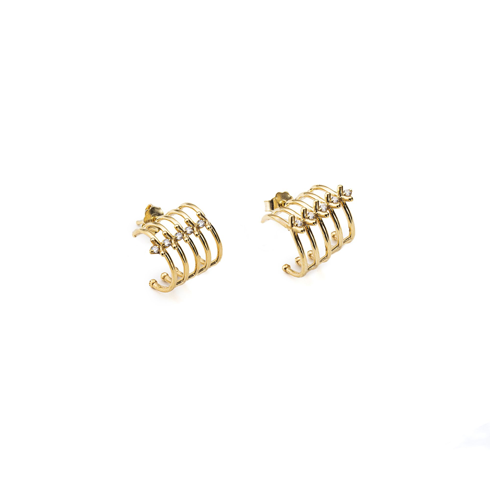 5 element 'Spinae' earrings 24 kt gold plated bronze earrings