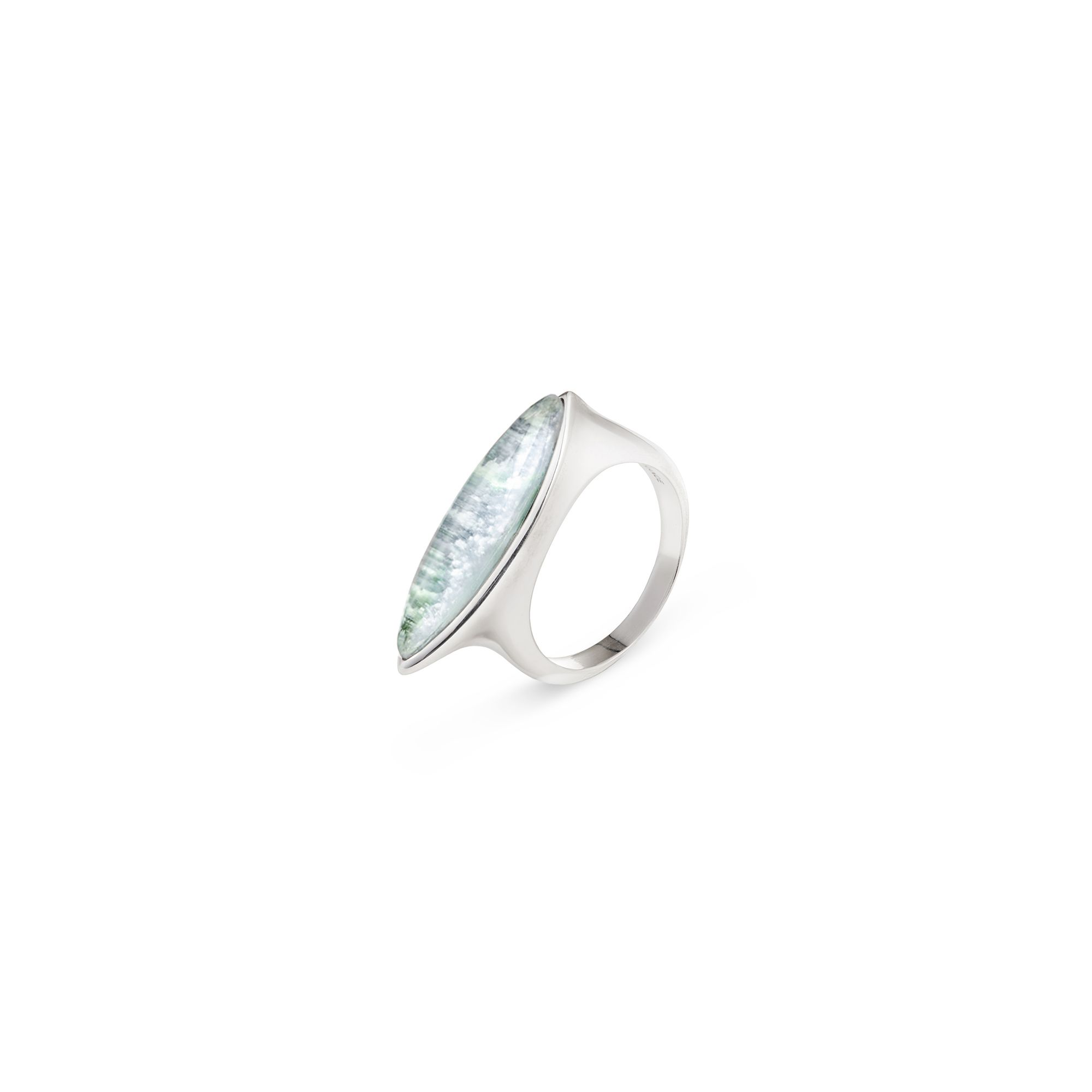 'Navetta' ring with aquamarine Silver ring with 'doublet' stone