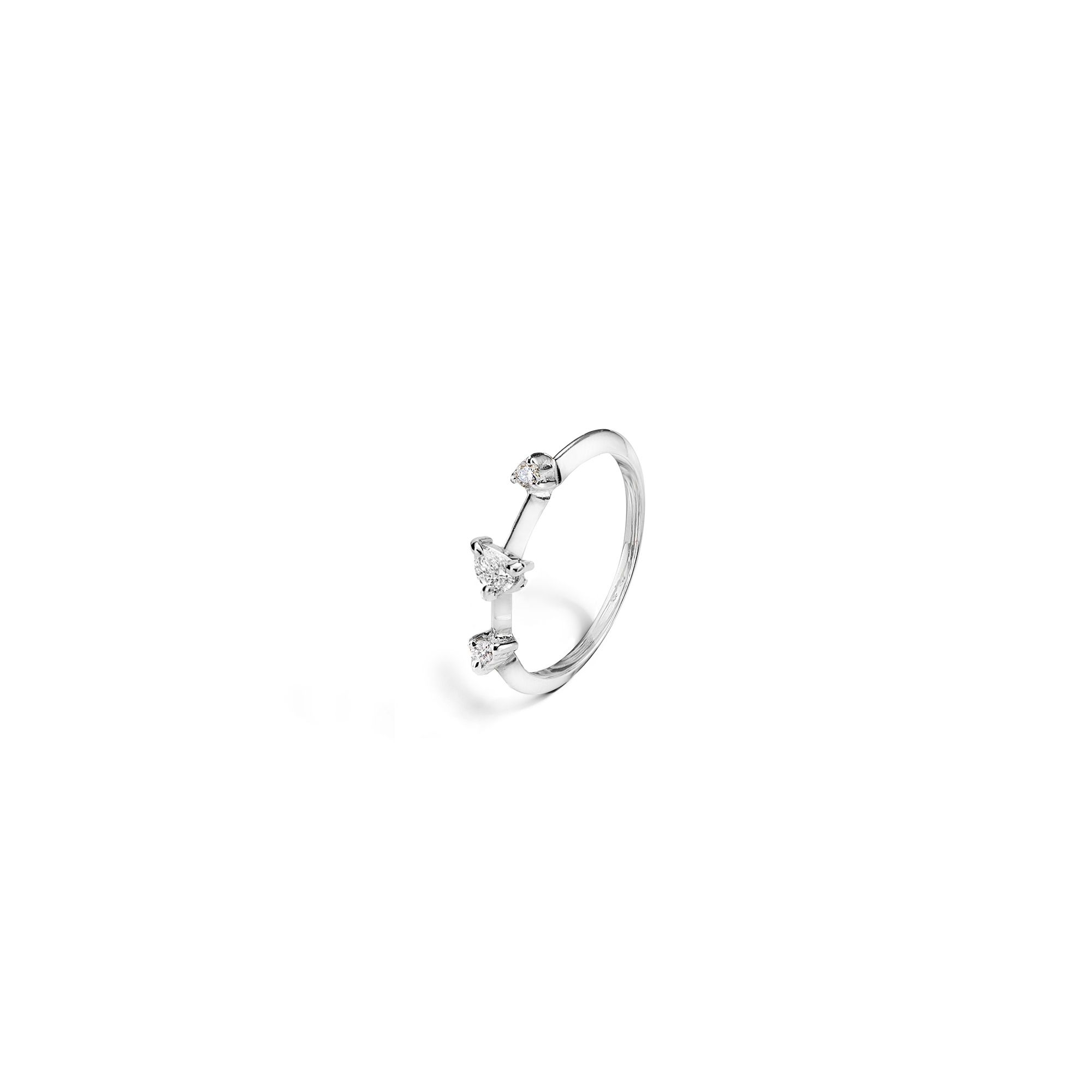 White gold 'Balance' ring with drop cut diamond Gold ring with diamonds